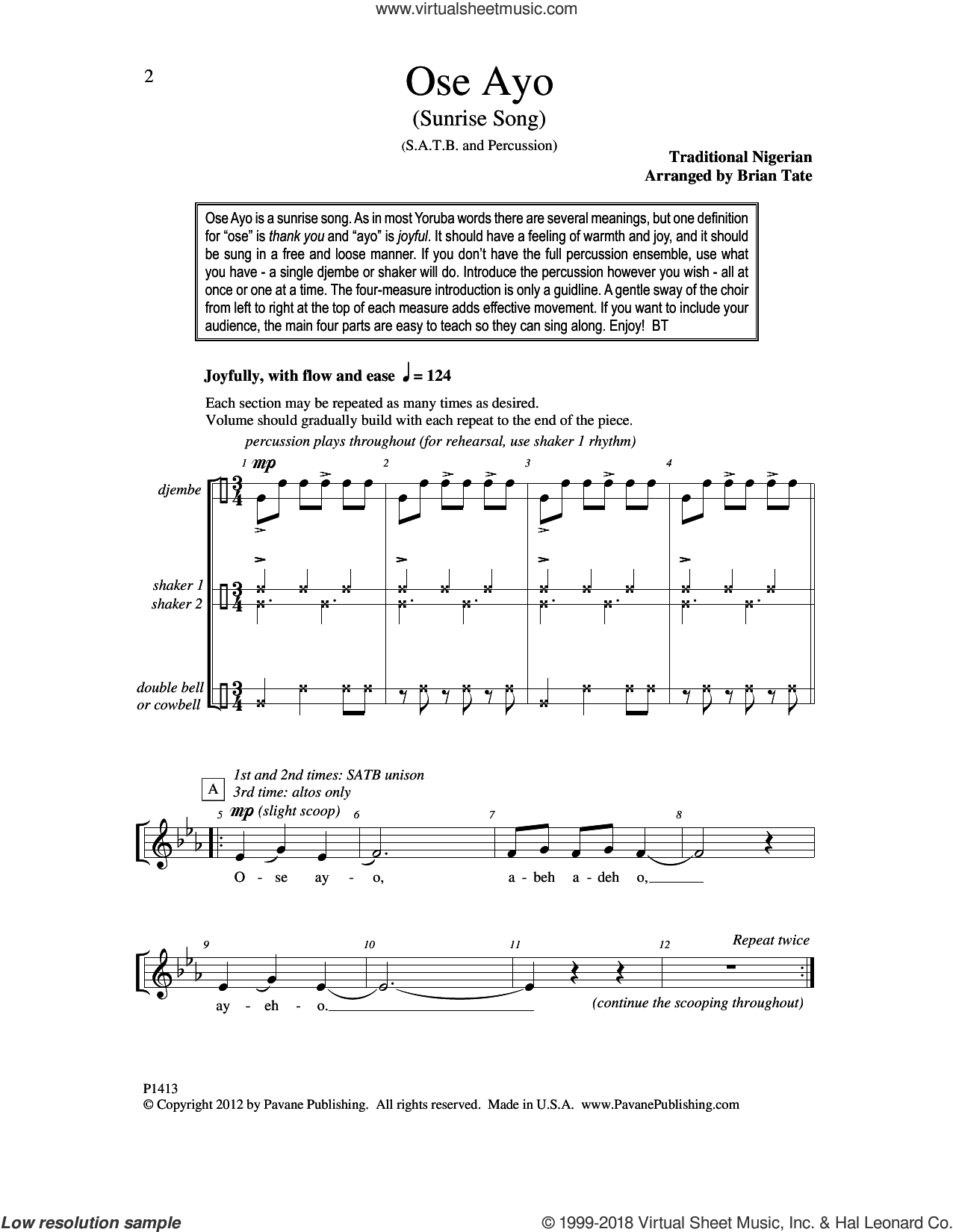 Ose Ayo (Sunrise Song) sheet music for choir by Brian Tate, intermediate skill level