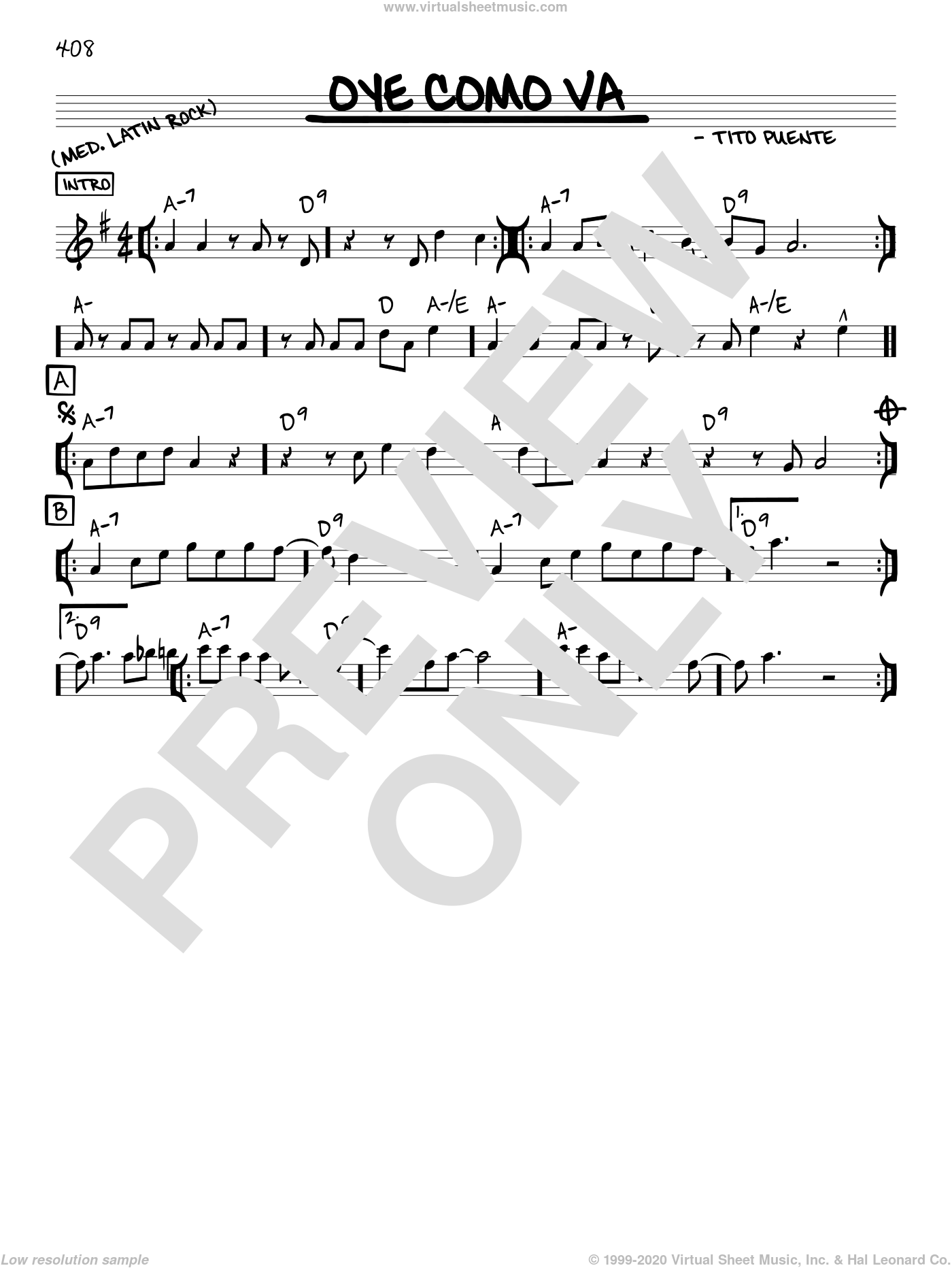 Oye Como Va sheet music for voice and other instruments (C) by Tito Puente