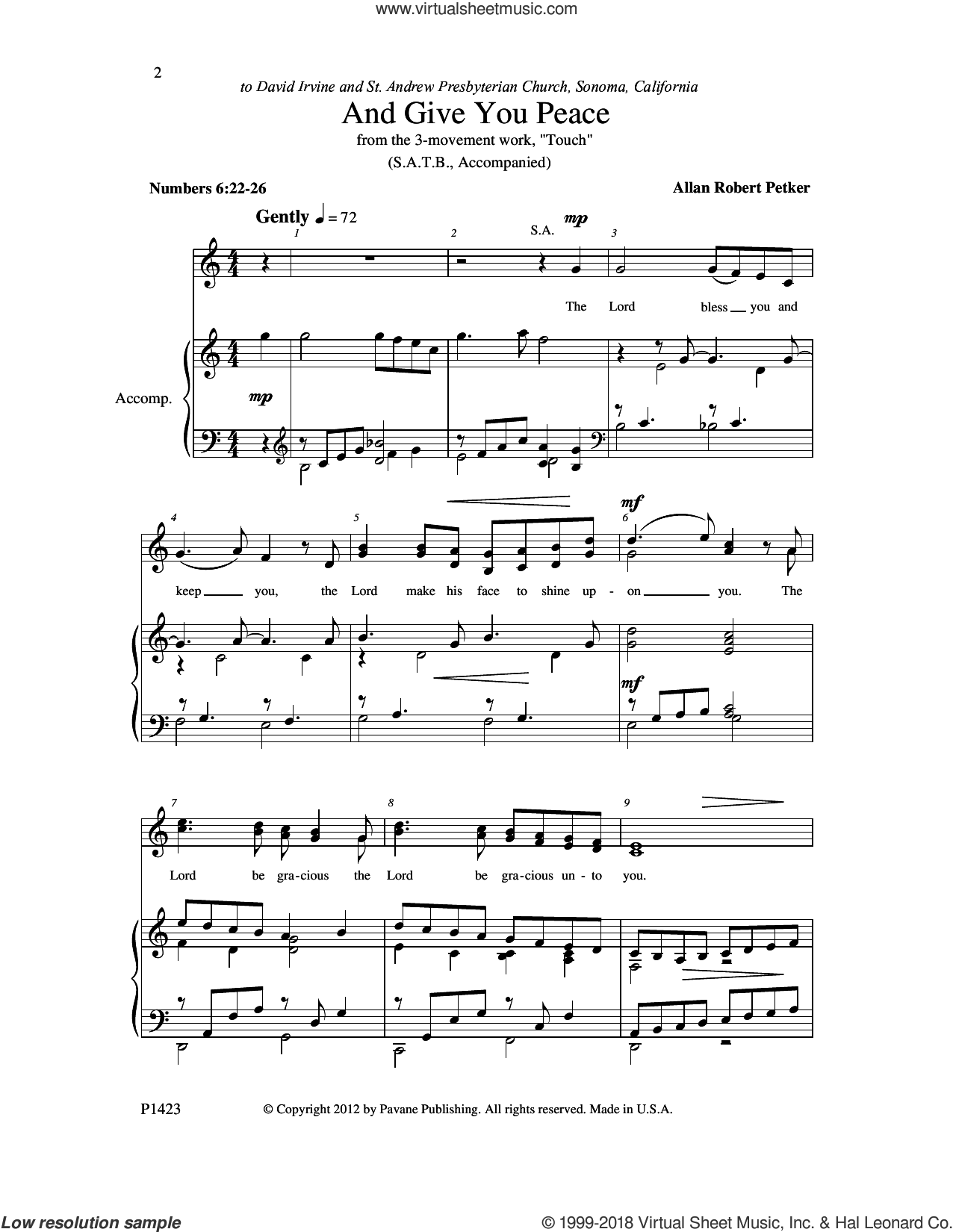And Give You Peace sheet music for choir (SATB: soprano, alto, tenor, bass) by Allan Robert Petker, intermediate skill level