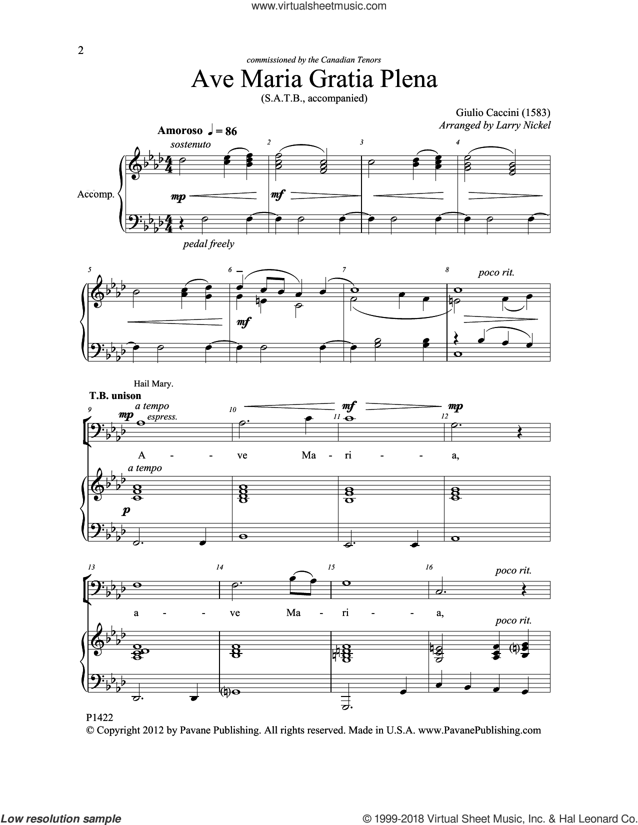 Ave Maria Gratia Plena sheet music for choir (SATB: soprano, alto, tenor, bass) by Larry Nickel and Canccini, intermediate skill level