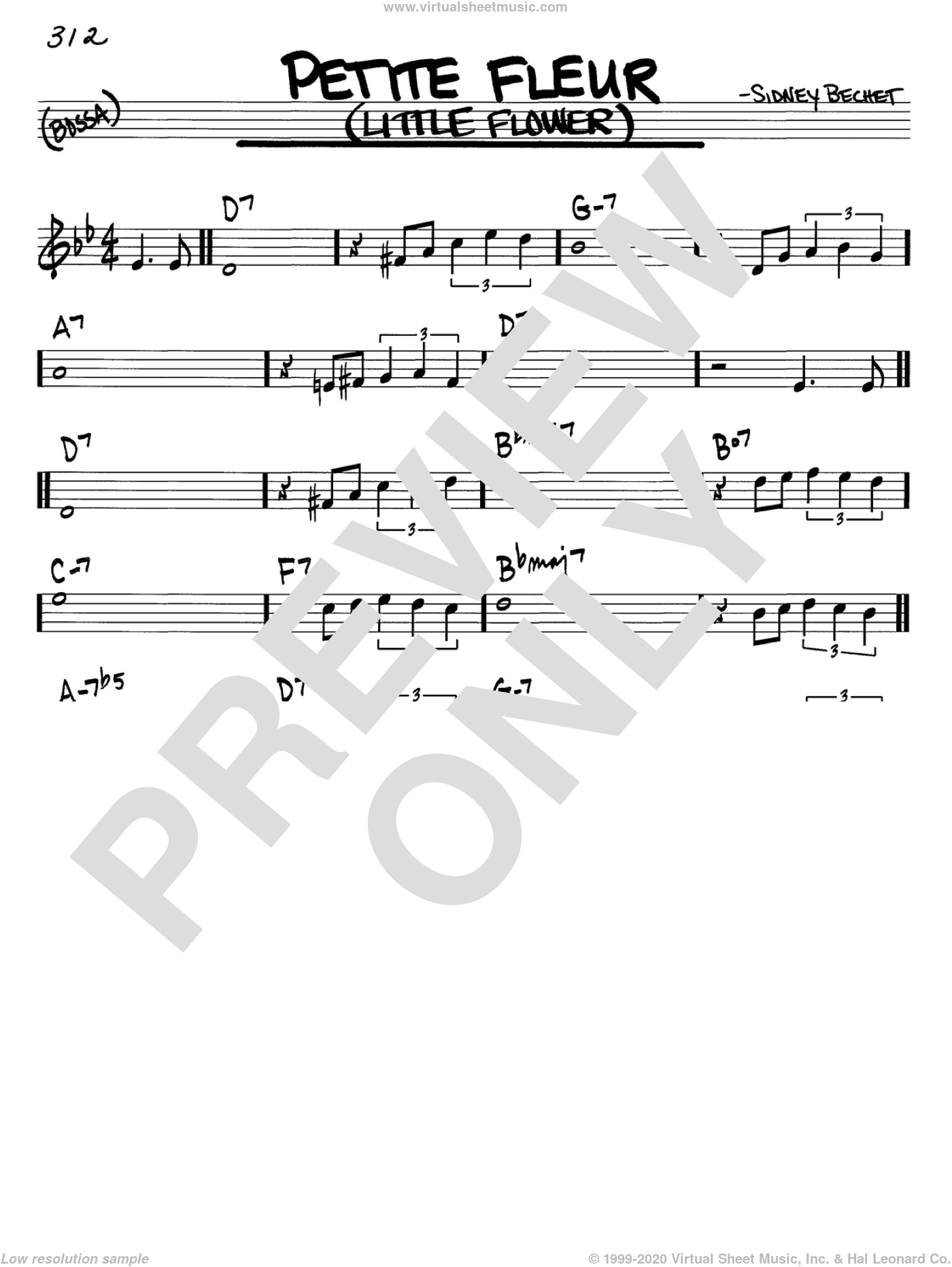 Petite Fleur (Little Flower) sheet music for voice and other instruments (C) by Sidney Bechet. Score Image Preview.