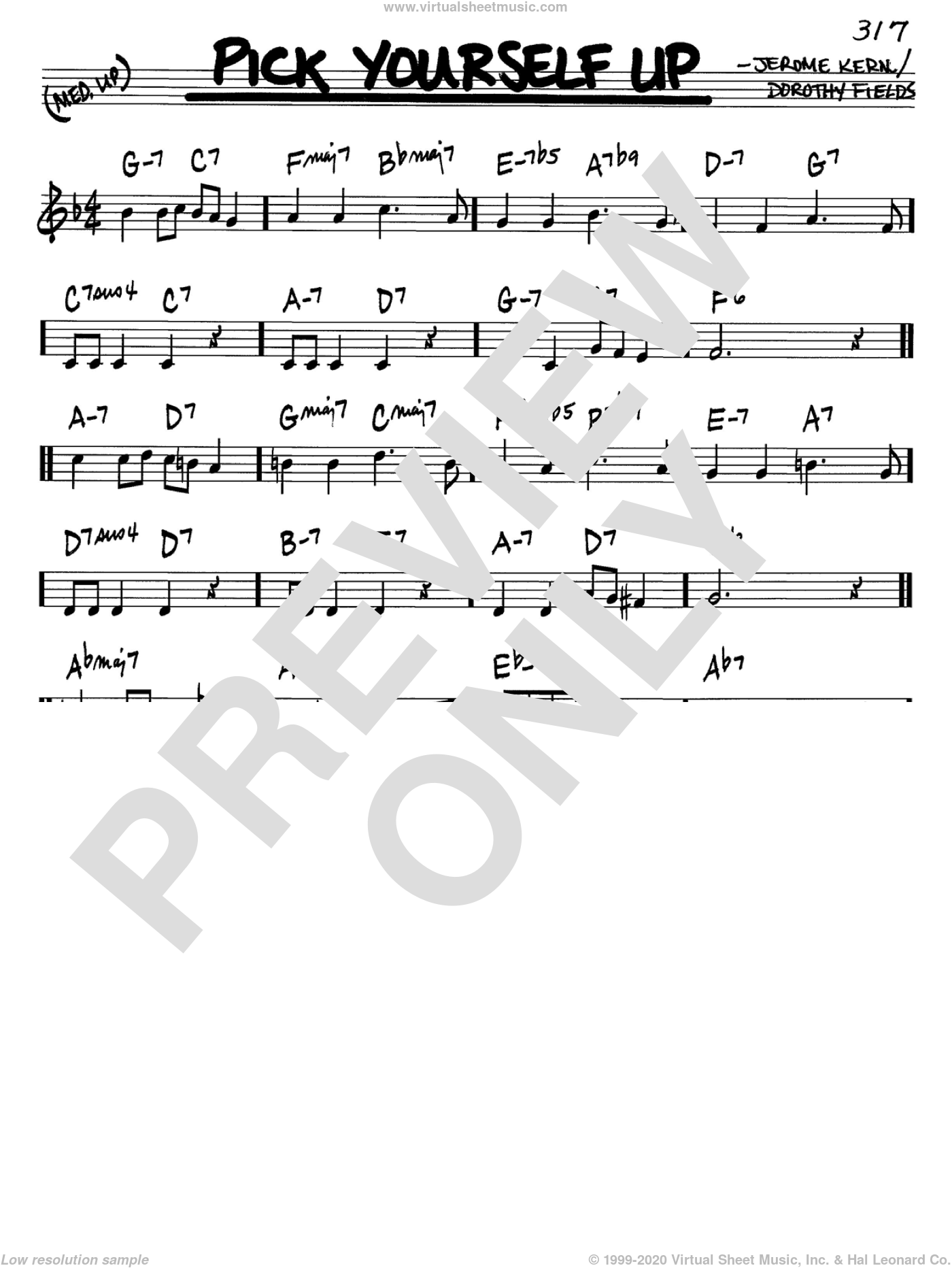 Pick Yourself Up sheet music for voice and other instruments (in C) by Jerome Kern and Dorothy Fields, intermediate skill level