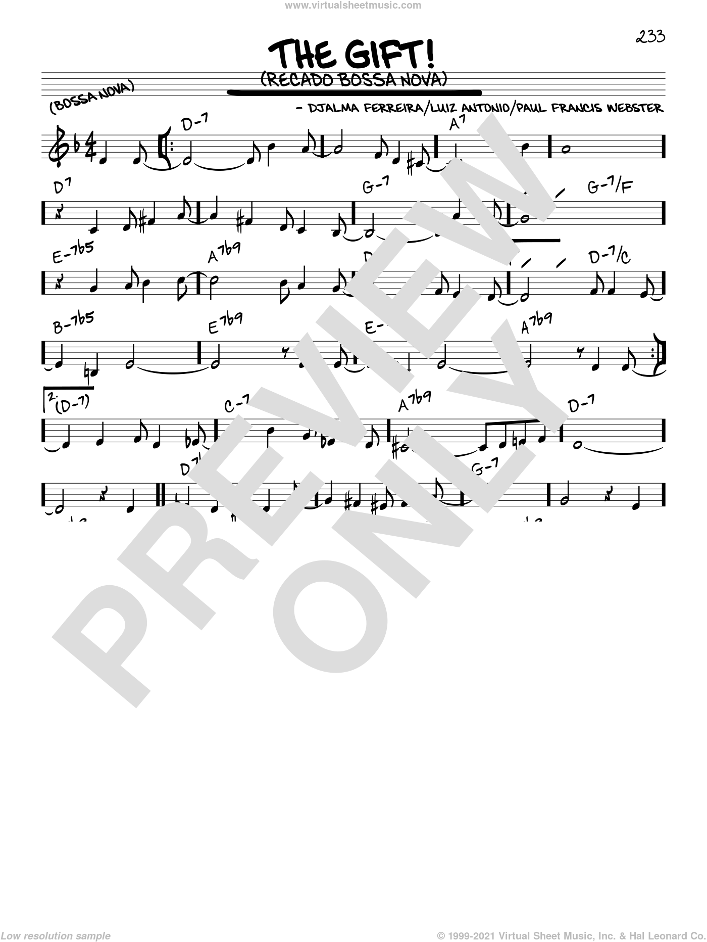 The Gift! (Recado Bossa Nova) sheet music for voice and other instruments (in C) by Luiz Antonio, Djalma Ferreira and Paul Francis Webster, intermediate skill level