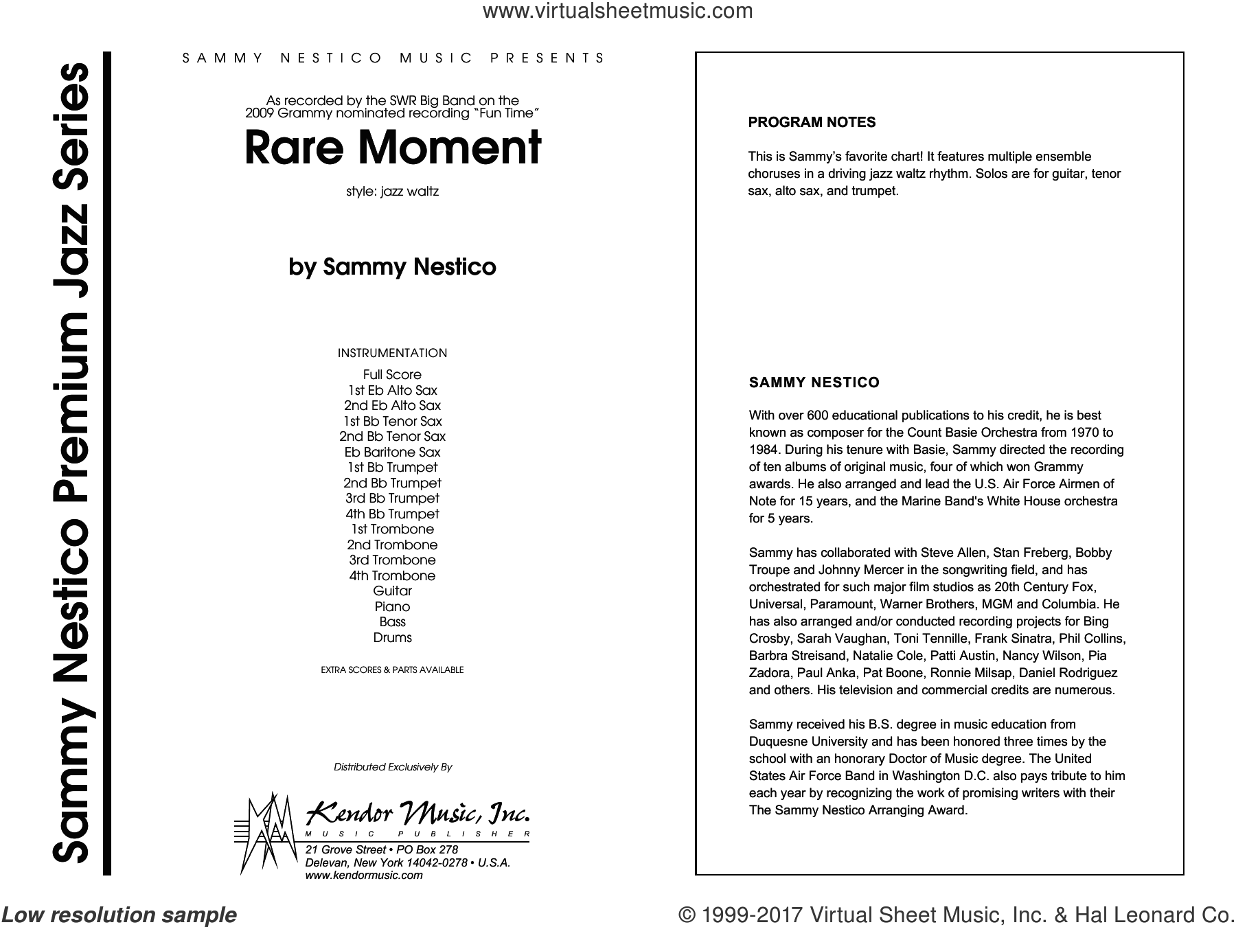 Rare Moment (COMPLETE) sheet music for jazz band by Sammy Nestico, intermediate skill level