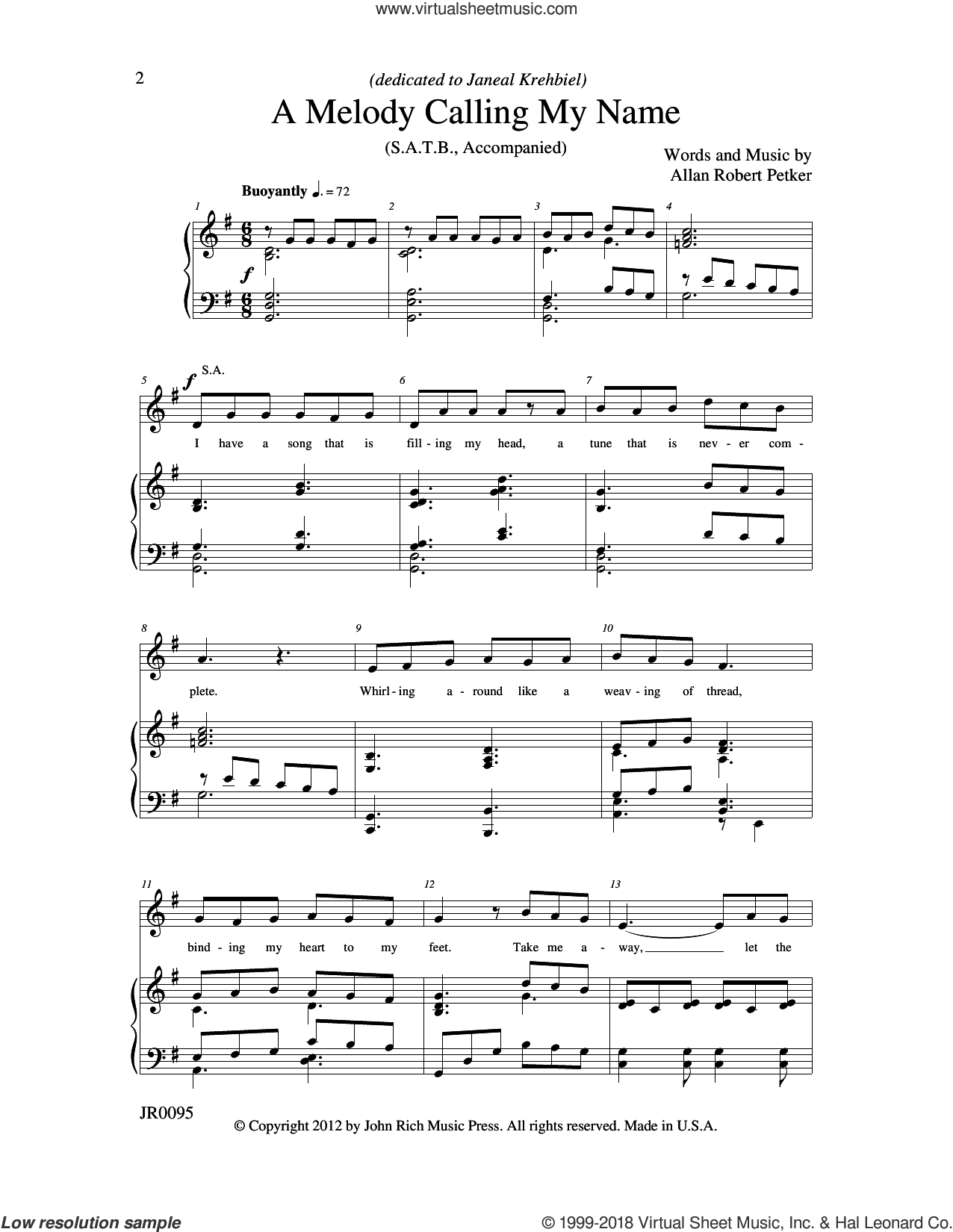 A Melody Calling My Name sheet music for choir (SATB: soprano, alto, tenor, bass) by Allan Robert Petker, intermediate skill level