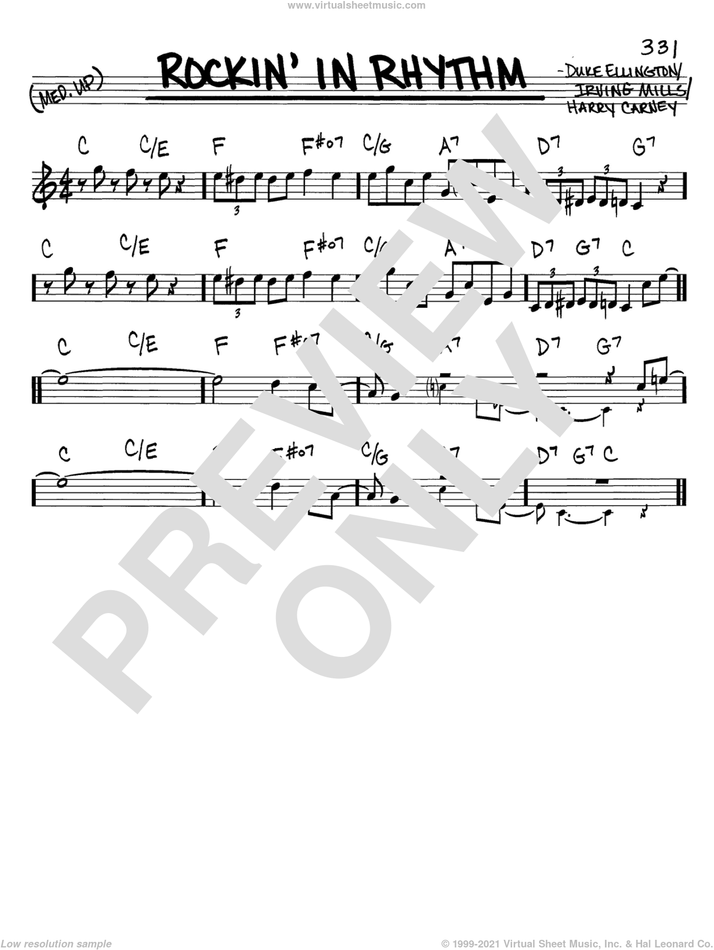 Rockin' In Rhythm sheet music for voice and other instruments (in C) by Duke Ellington and Irving Mills, intermediate. Score Image Preview.