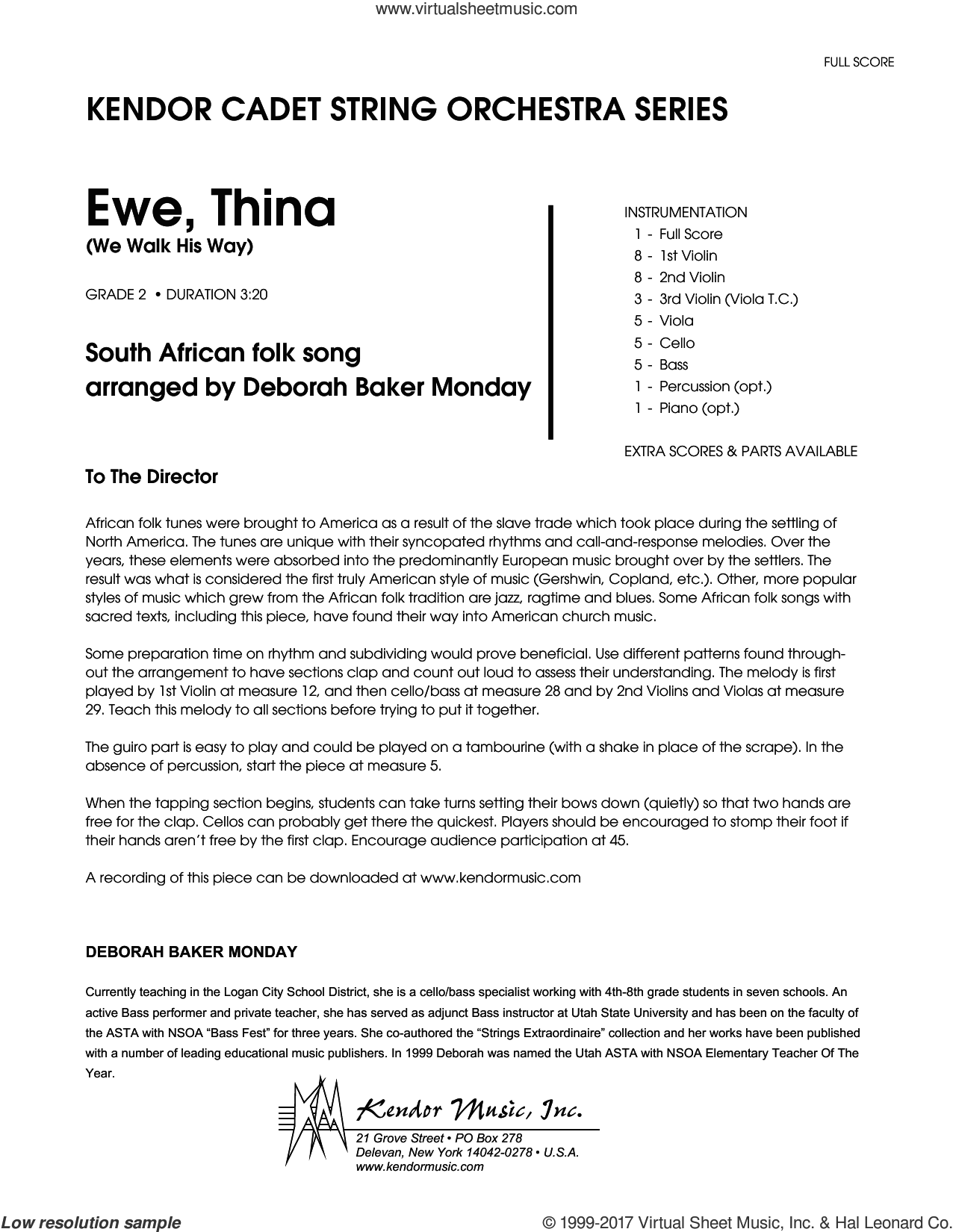 Ewe, Thina (We Walk His Way) (COMPLETE) sheet music for orchestra by Deborah Baker Monday and South African folk song, intermediate skill level