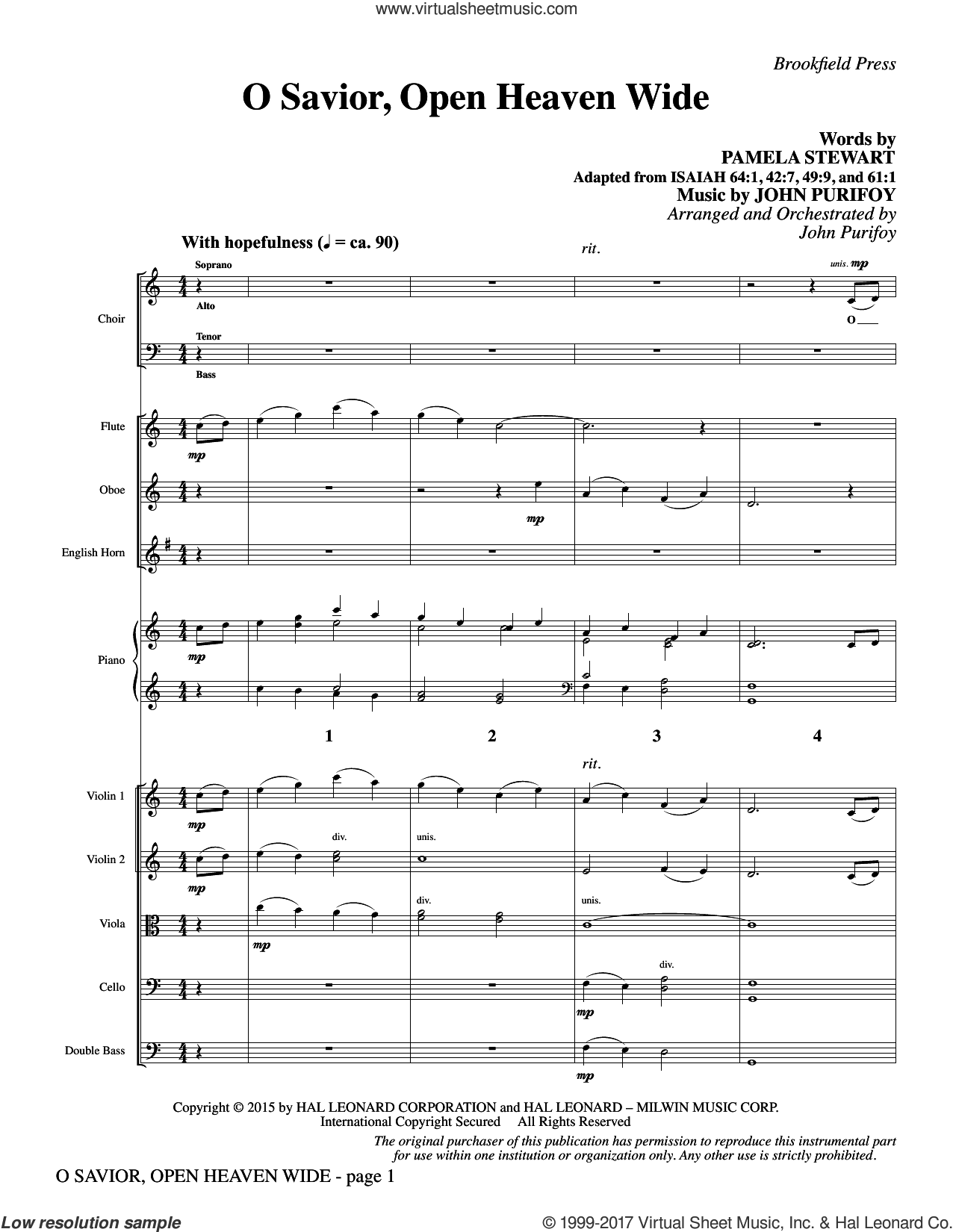 O Savior, Open Heaven Wide (COMPLETE) sheet music for orchestra/band by John Purifoy and Pamela Stewart, intermediate skill level