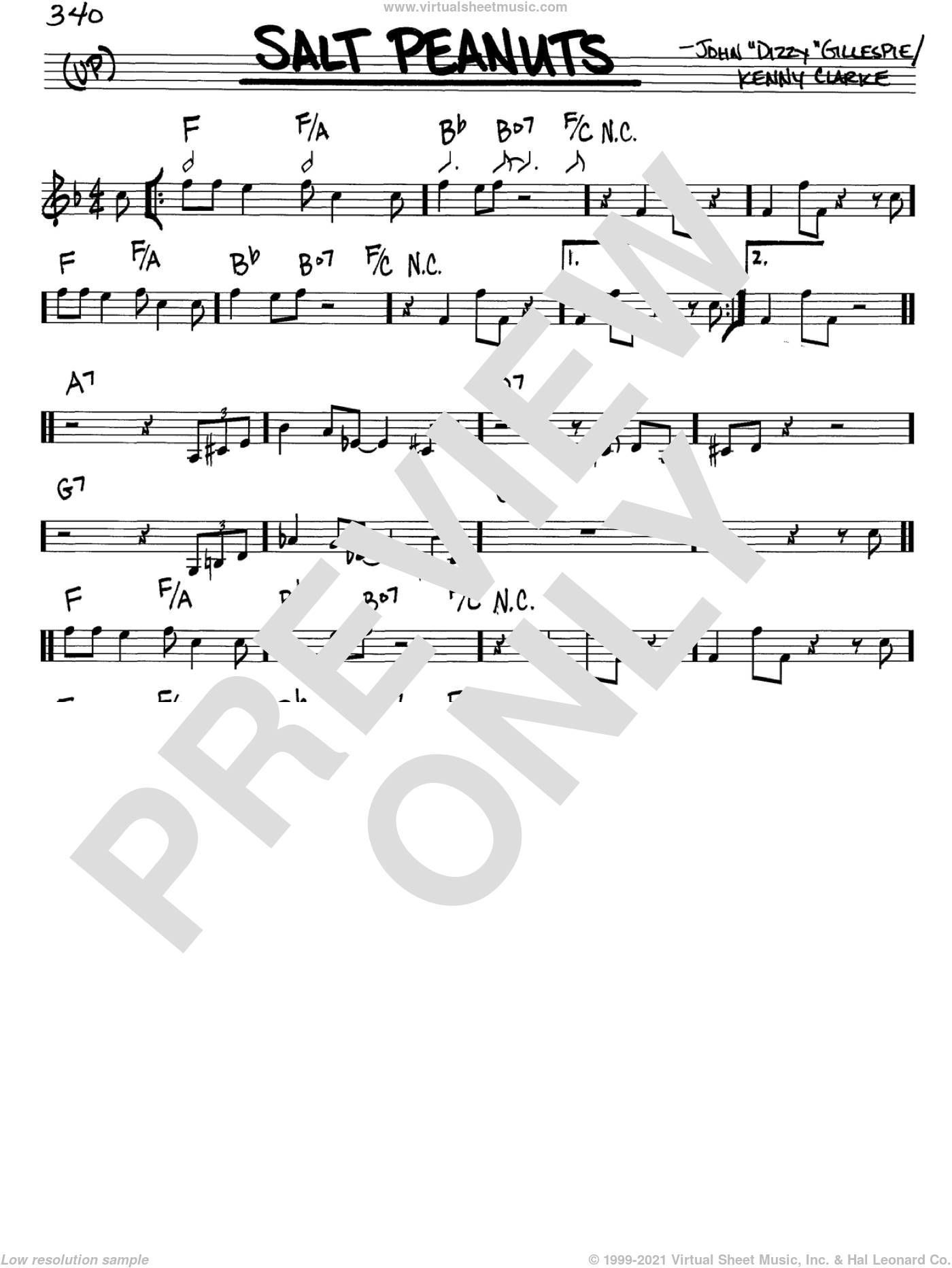 Salt Peanuts sheet music for voice and other instruments (in C) by Dizzy Gillespie and Kenny Clarke, intermediate. Score Image Preview.