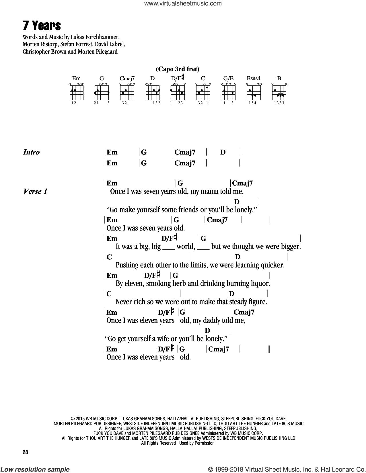 7 Years sheet music for guitar (chords) by Lukas Graham, Chris Brown, David Labrel, Lukas Forchhammer, Morten Pilegaard, Morten Ristorp and Stefan Forrest, intermediate skill level