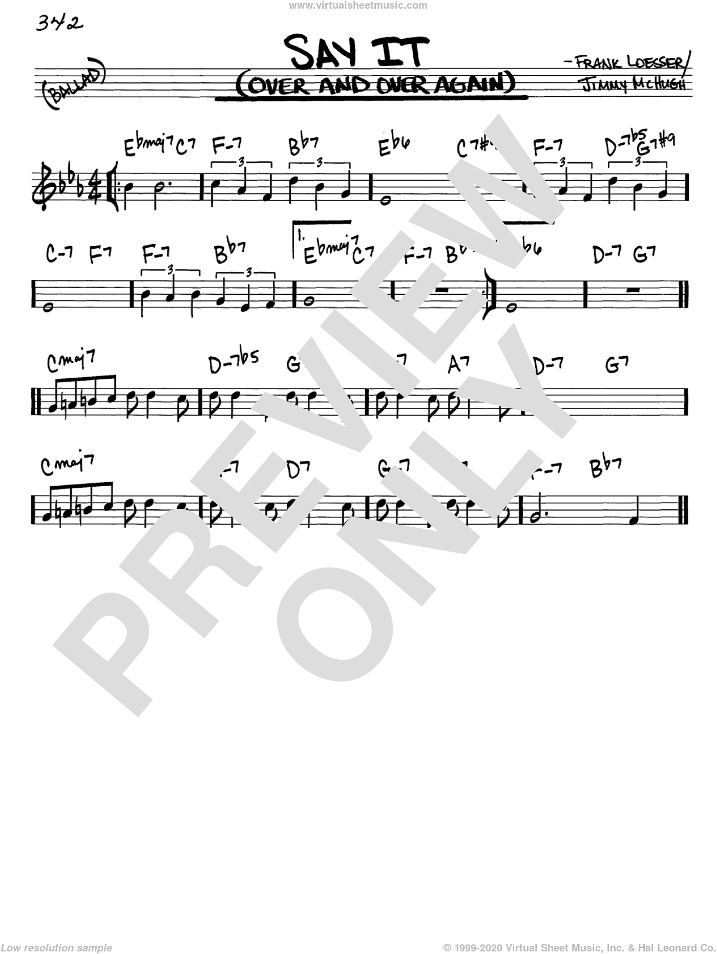 Say It (Over And Over Again) sheet music for voice and other instruments (in C) by Frank Loesser and Jimmy McHugh, intermediate skill level