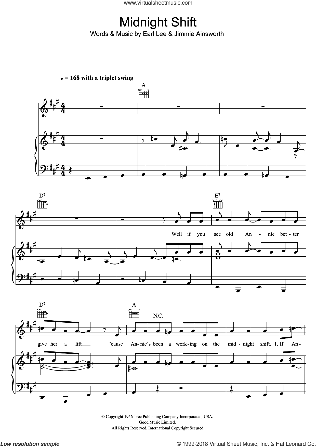Midnight Shift sheet music for voice, piano or guitar by Buddy Holly, intermediate. Score Image Preview.