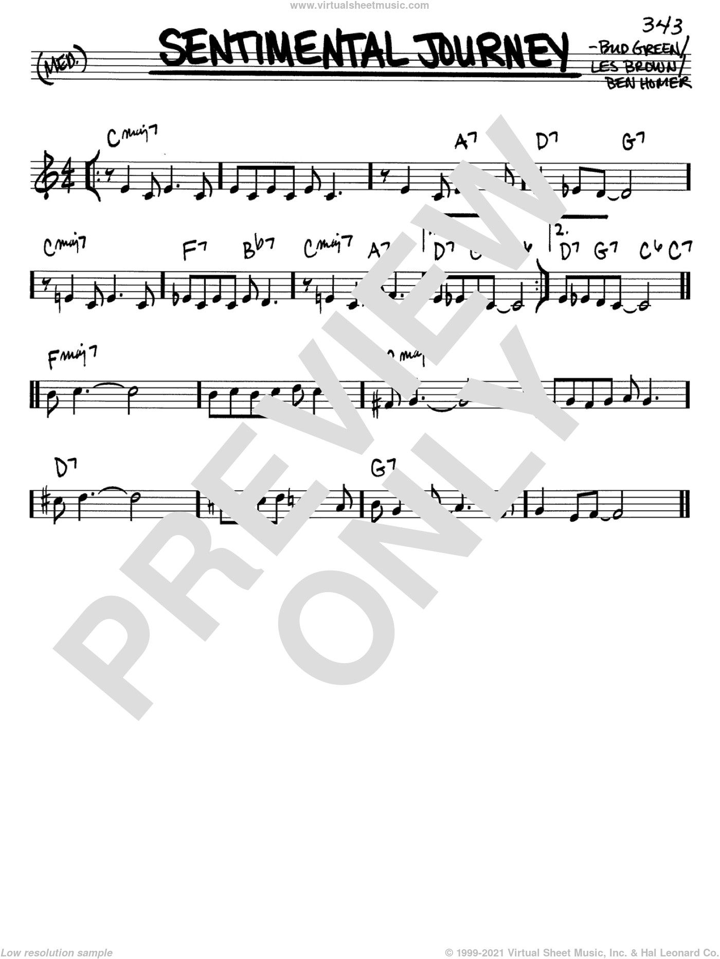 Sentimental Journey sheet music for voice and other instruments (in C) by Bud Green, Ben Homer and Les Brown, intermediate skill level