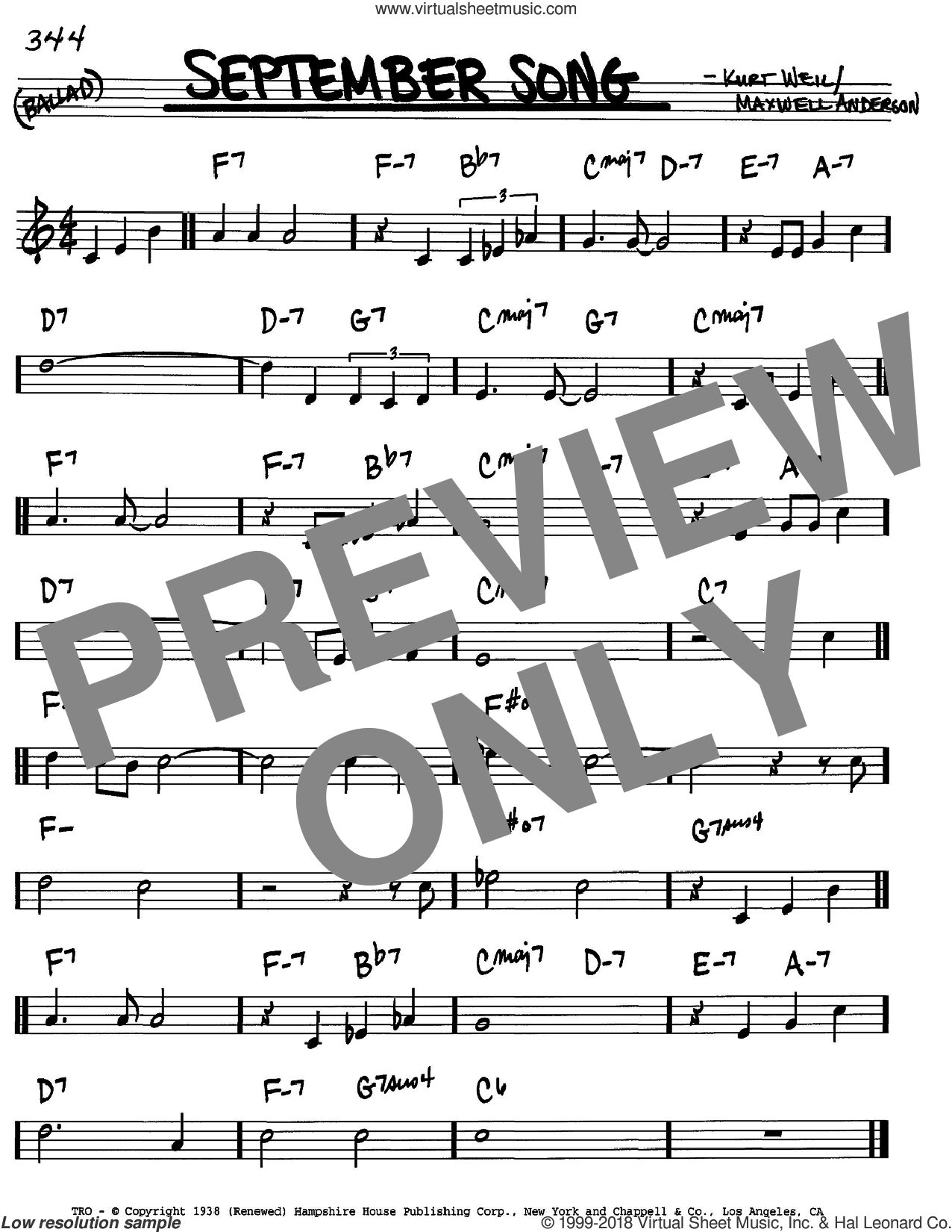September Song sheet music for voice and other instruments (in C) by Kurt Weill and Maxwell Anderson, intermediate skill level