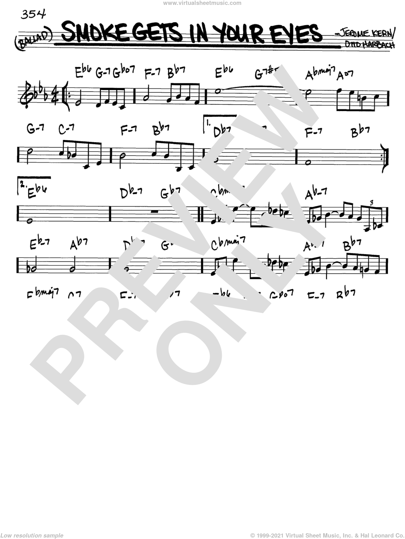Smoke Gets In Your Eyes sheet music for voice and other instruments (C) by Jerome Kern, The Platters and Otto Harbach, intermediate. Score Image Preview.