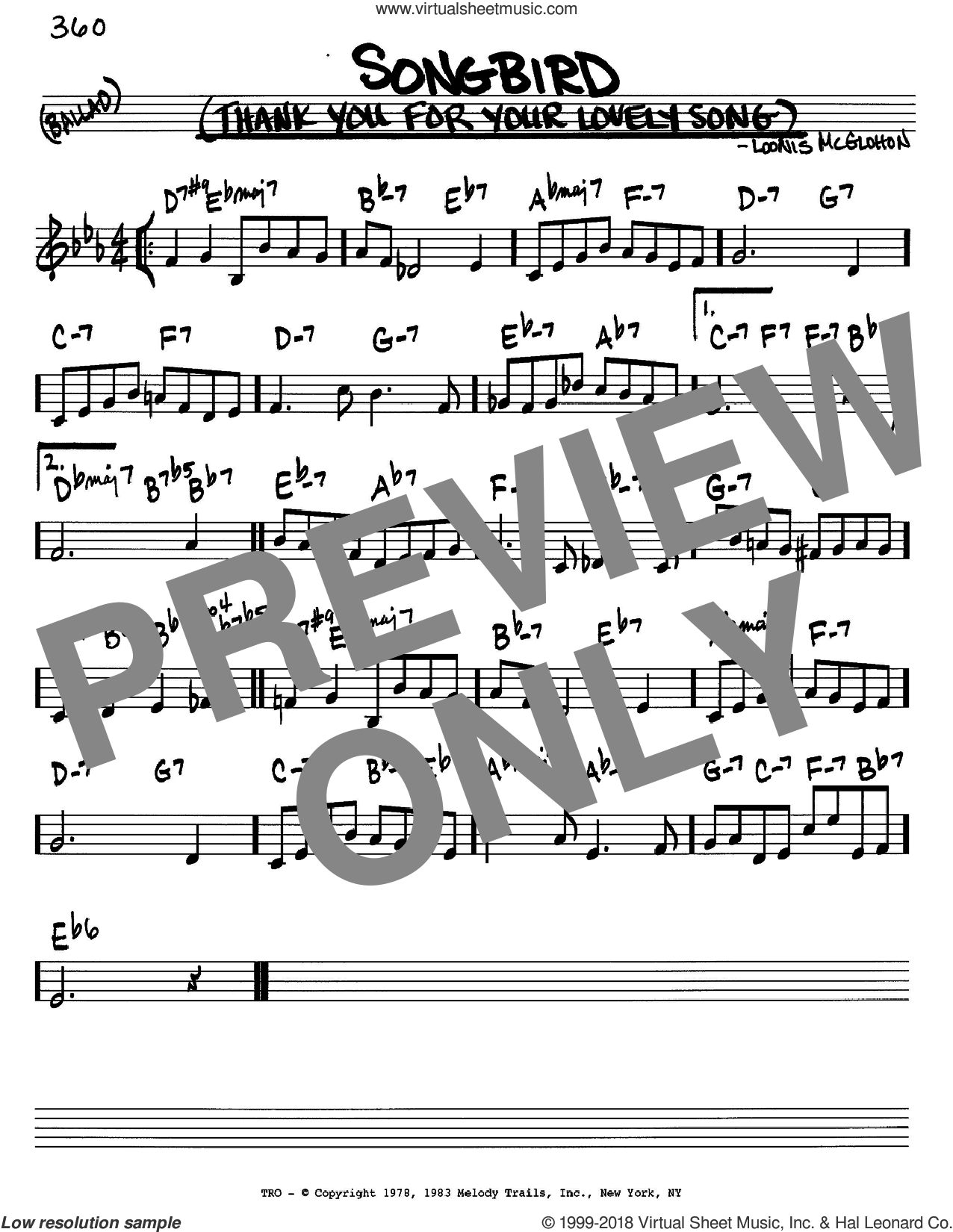 Songbird (Thank You For Your Lovely Song) sheet music for voice and other instruments (C) by Loonis McGlohon. Score Image Preview.