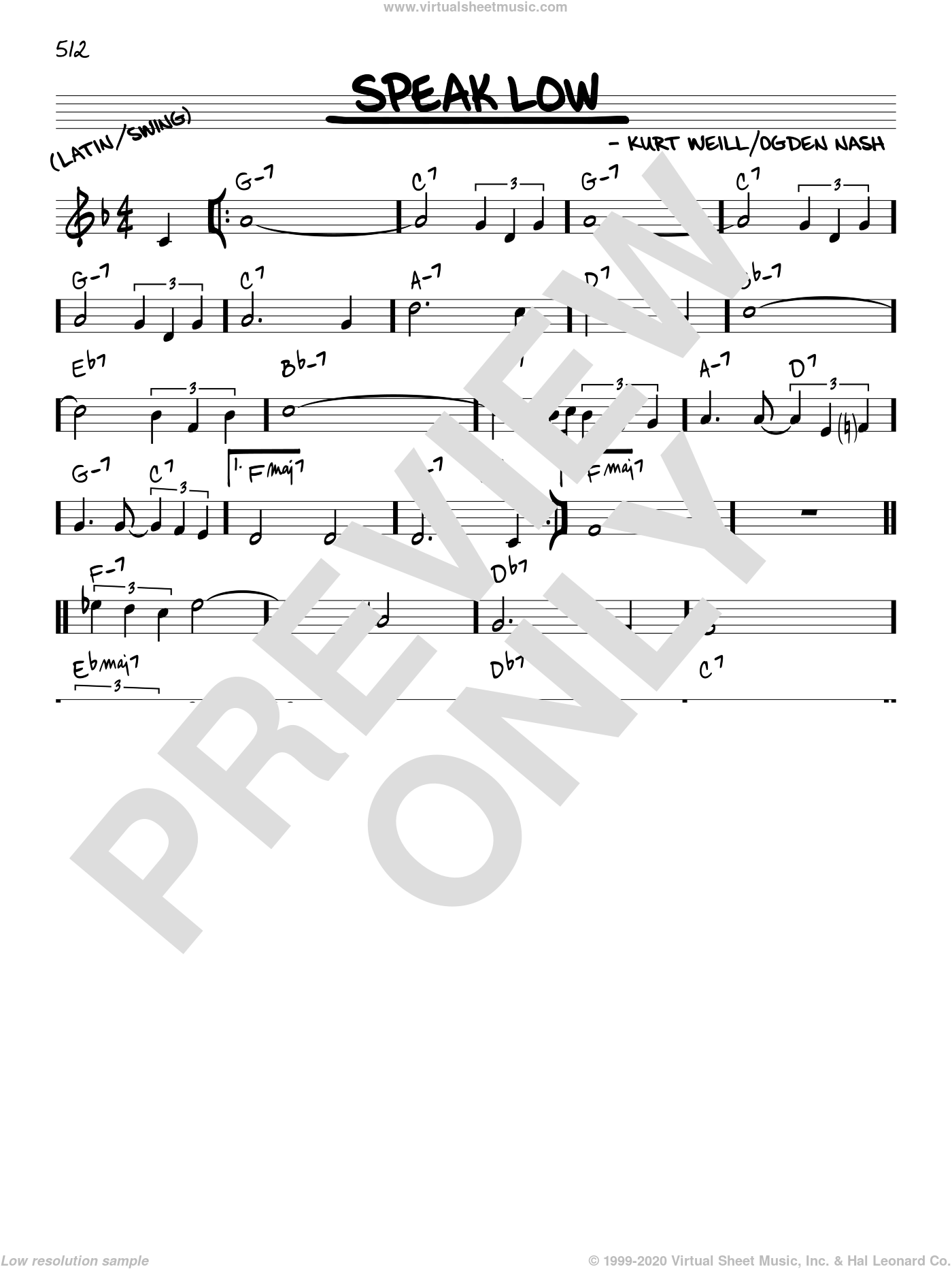 Speak Low sheet music for voice and other instruments (C) by Ogden Nash