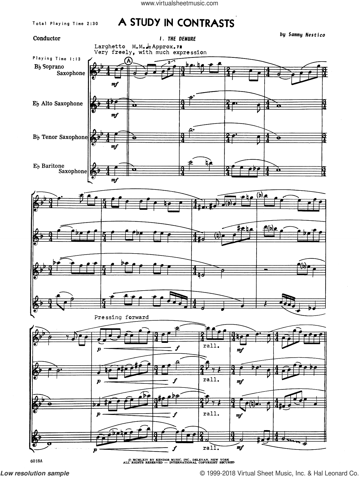 A Study In Contrasts (COMPLETE) sheet music for saxophone quartet by Sammy Nestico, intermediate saxophone quartet. Score Image Preview.