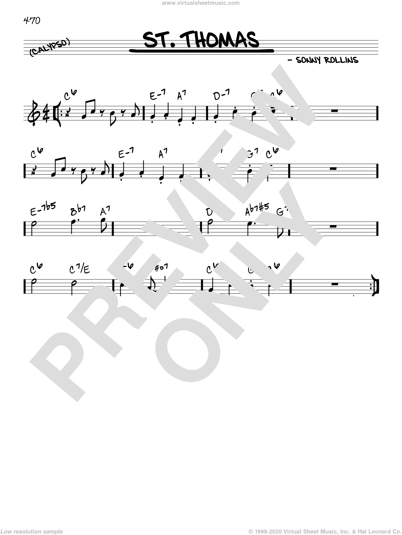 Rollins - St  Thomas sheet music (real book - melody and chords) (in C)