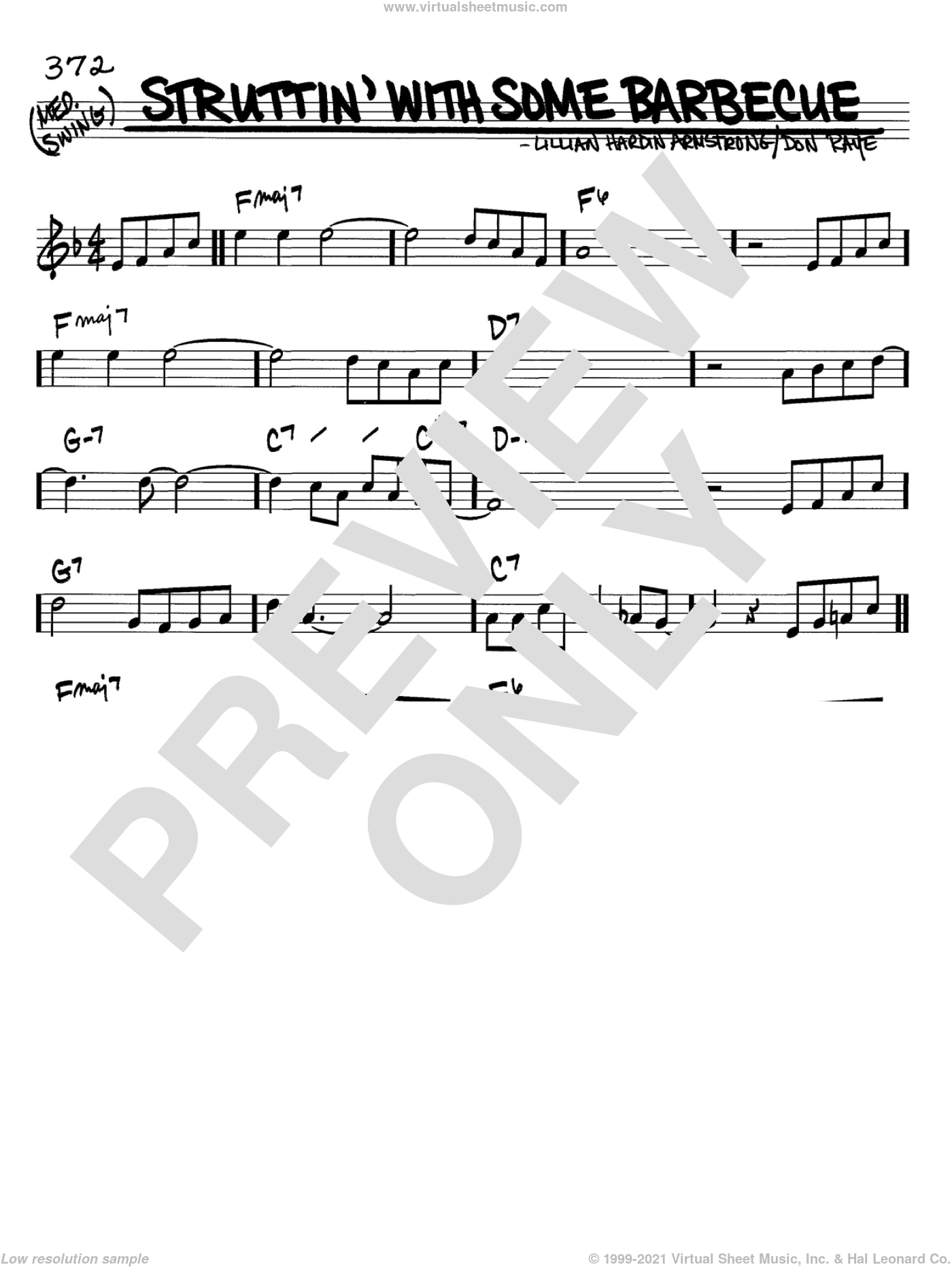Struttin' With Some Barbecue sheet music for voice and other instruments (in C) by Louis Armstrong, Don Raye and Lillian Hardin Armstrong, intermediate. Score Image Preview.