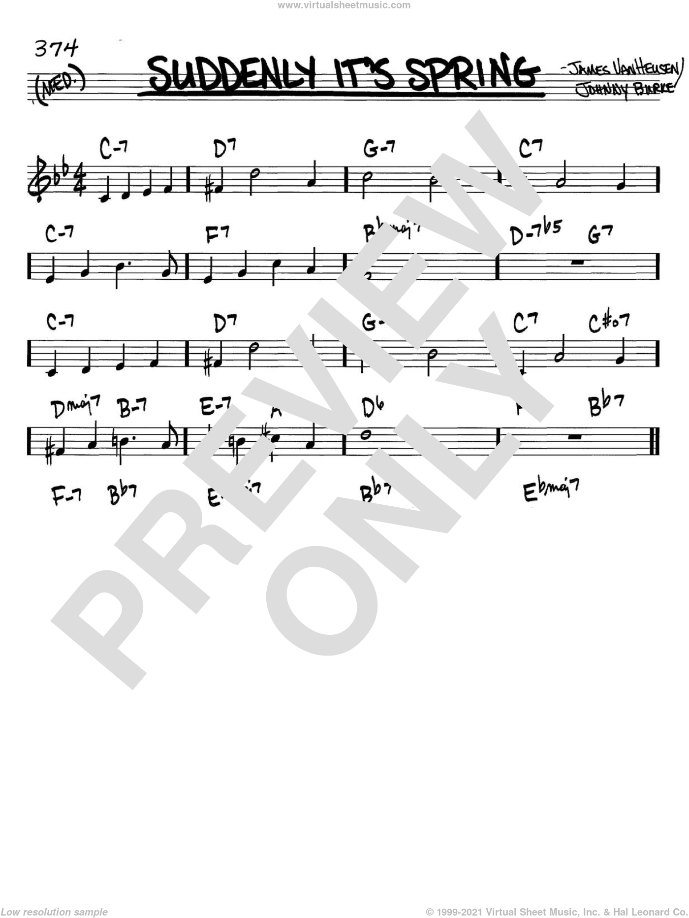 Suddenly It's Spring sheet music for voice and other instruments (C) by Jimmy van Heusen and John Burke. Score Image Preview.