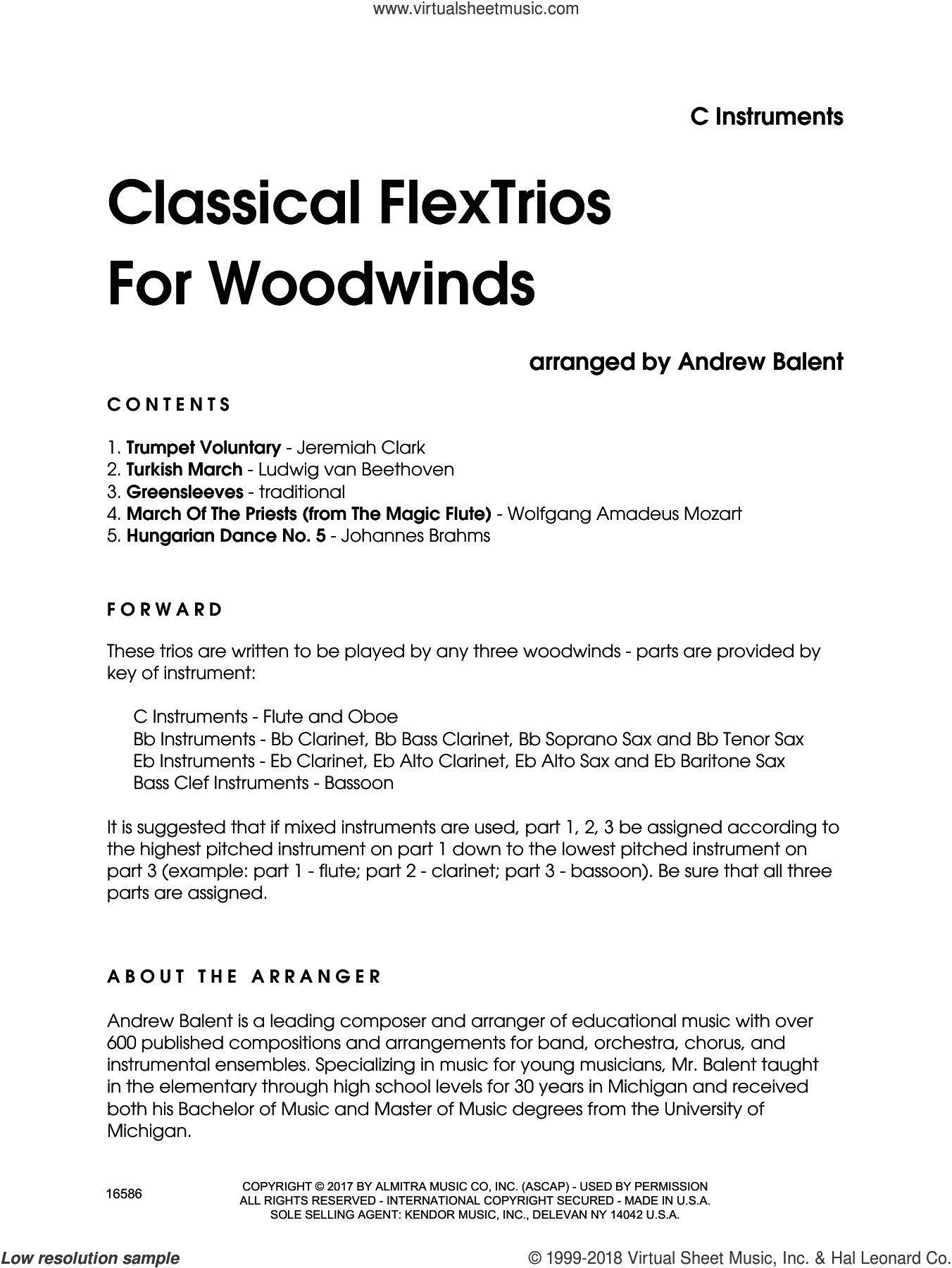 Classical FlexTrios For Woodwinds (complete set of parts) sheet music for wind ensemble by Andrew Balent, classical score, intermediate skill level