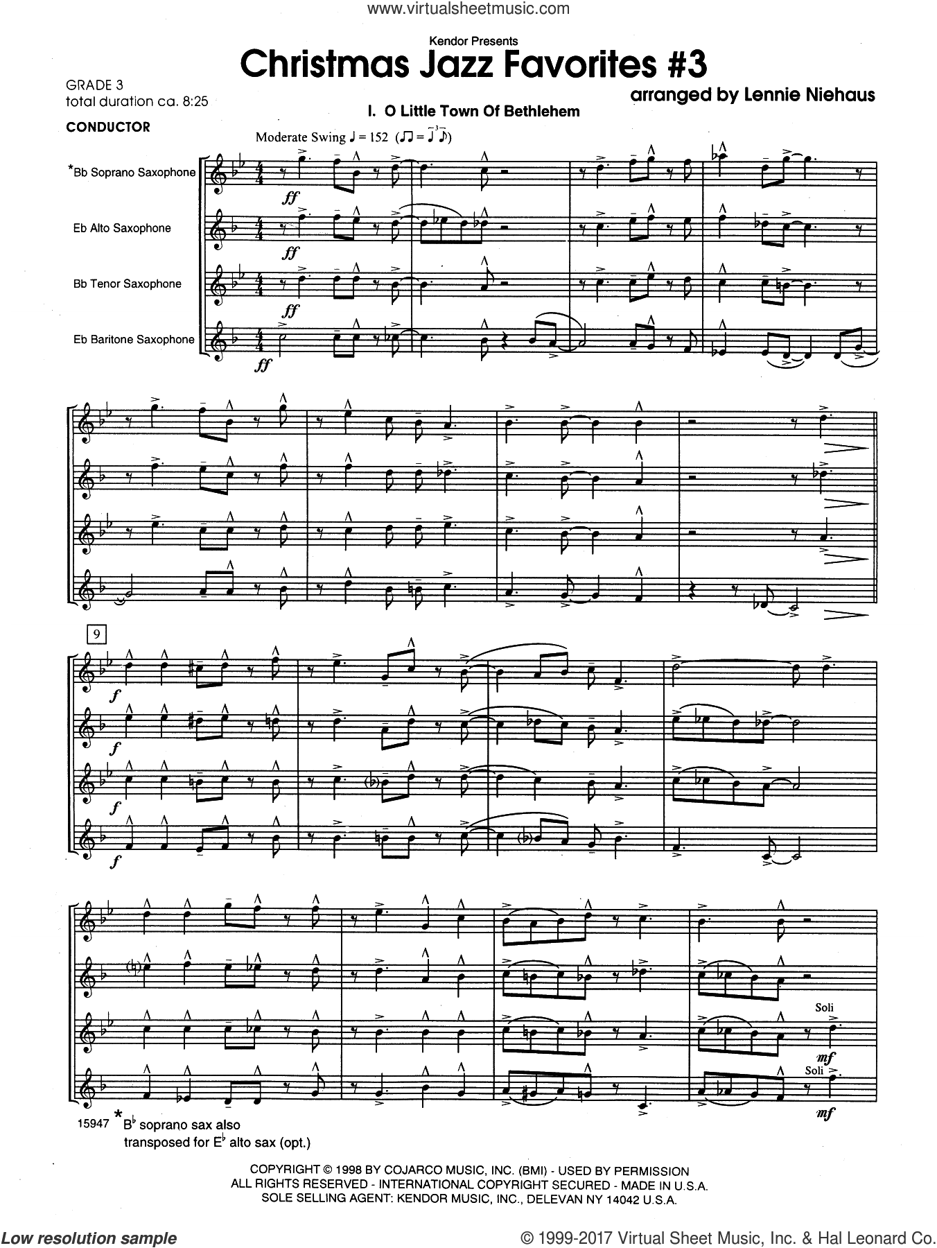 Christmas Jazz Favorites #3 (COMPLETE) sheet music for saxophone quartet by Lennie Niehaus, intermediate. Score Image Preview.
