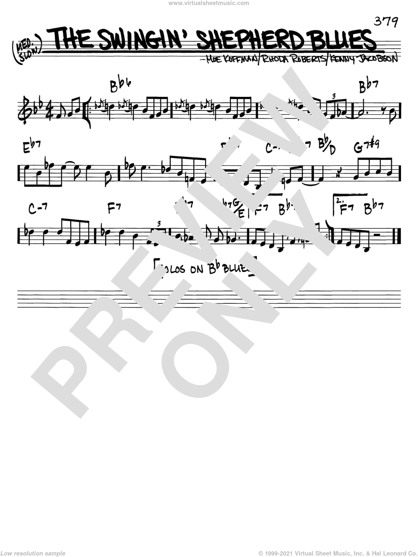 The Swingin' Shepherd Blues sheet music for voice and other instruments (C) by Rhoda Roberts. Score Image Preview.