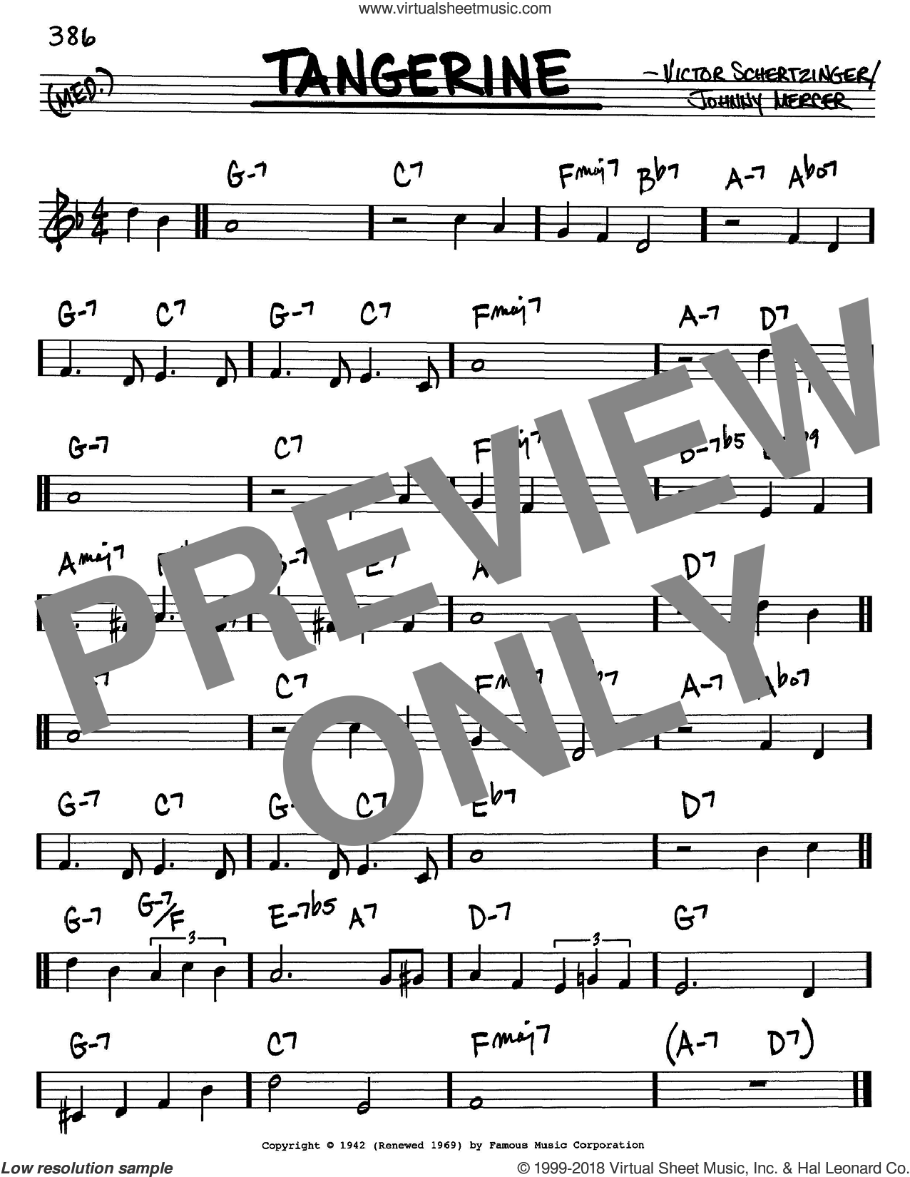 Tangerine sheet music for voice and other instruments (in C) by Johnny Mercer and Victor Schertzinger, intermediate skill level