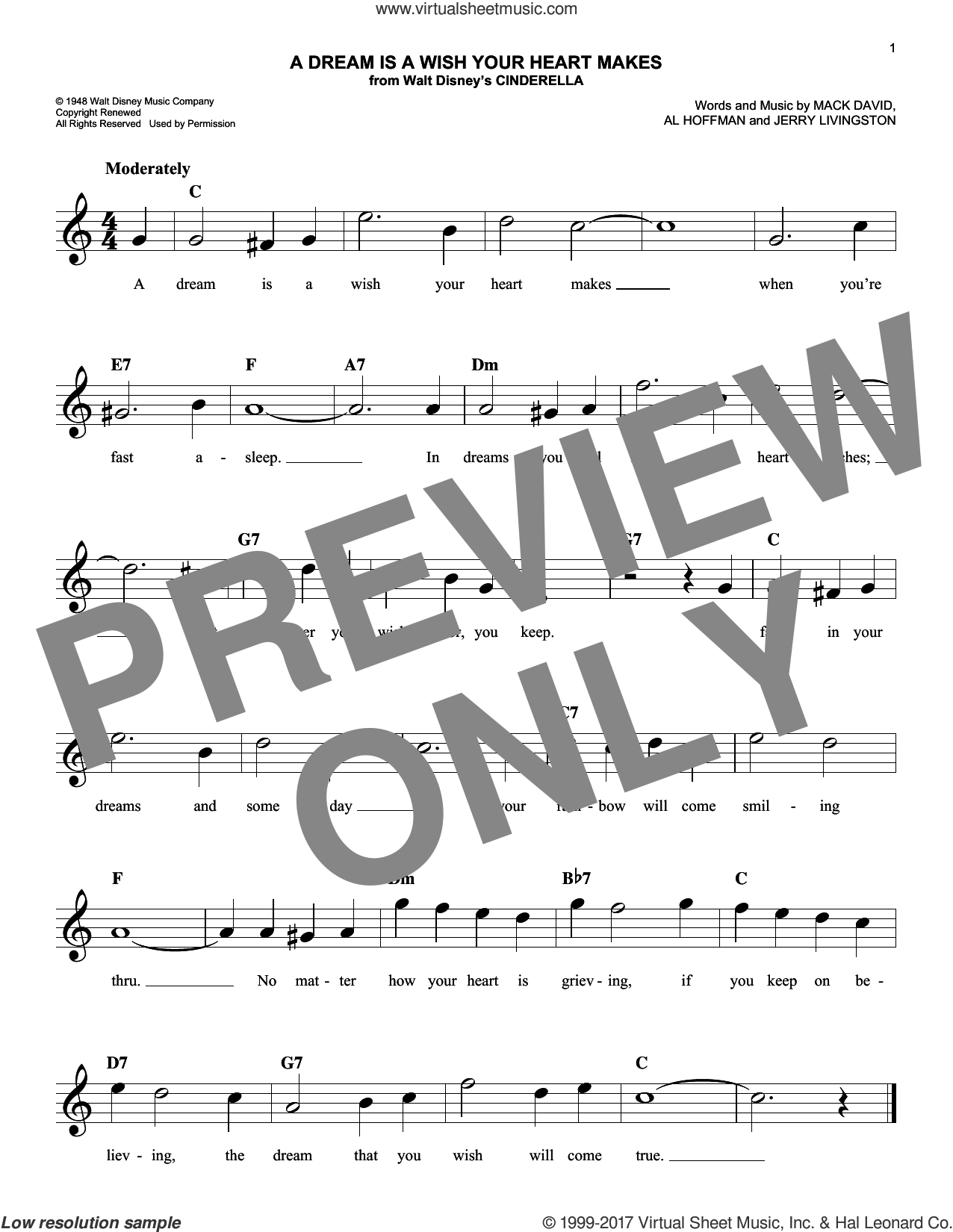 A Dream Is A Wish Your Heart Makes sheet music for voice and other instruments (fake book) by Al Hoffman, Linda Ronstadt, Jerry Livingston and Mack David, intermediate skill level