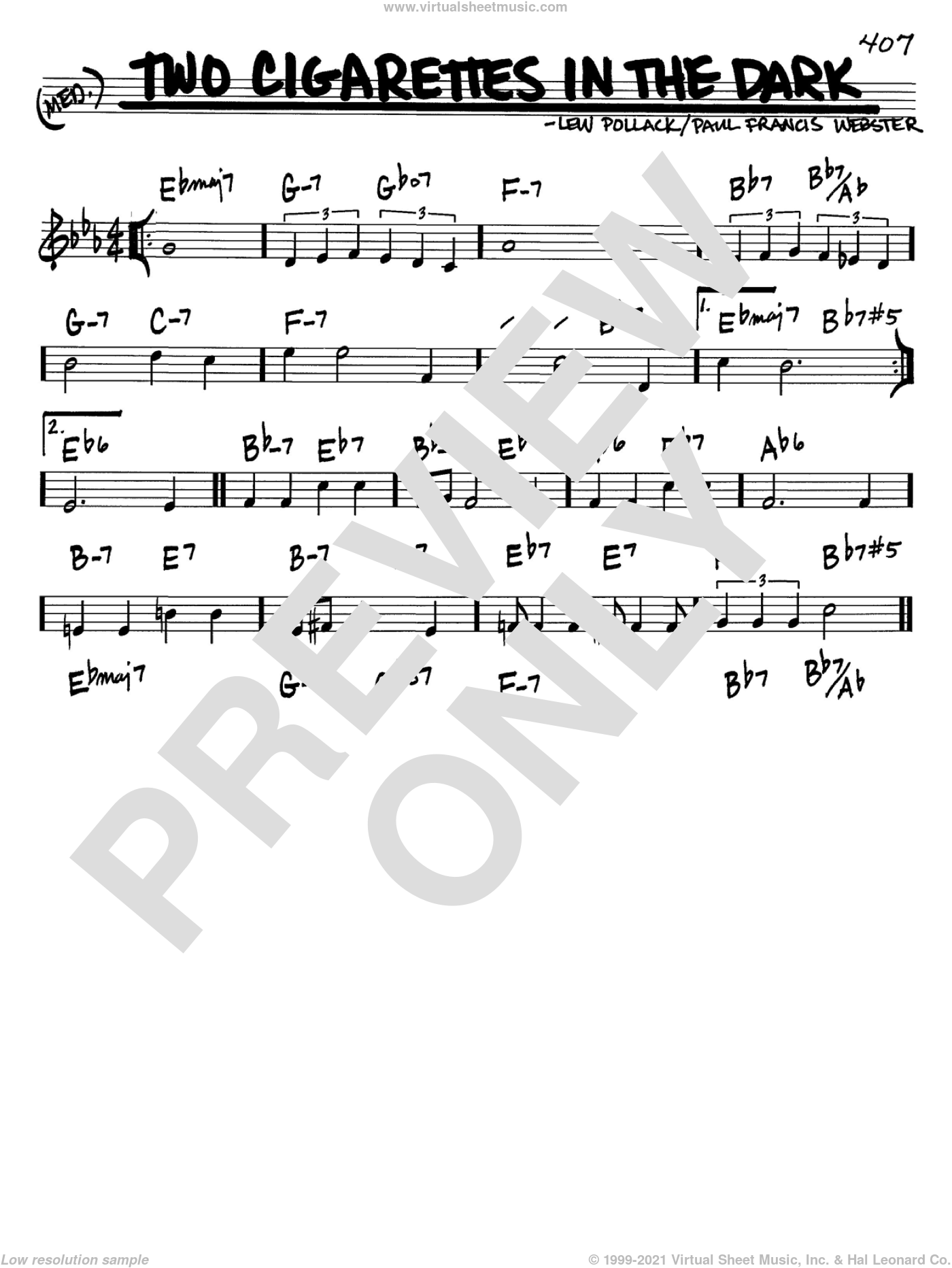 Two Cigarettes In The Dark sheet music for voice and other instruments (C) by Lew Pollack and Paul Francis Webster. Score Image Preview.