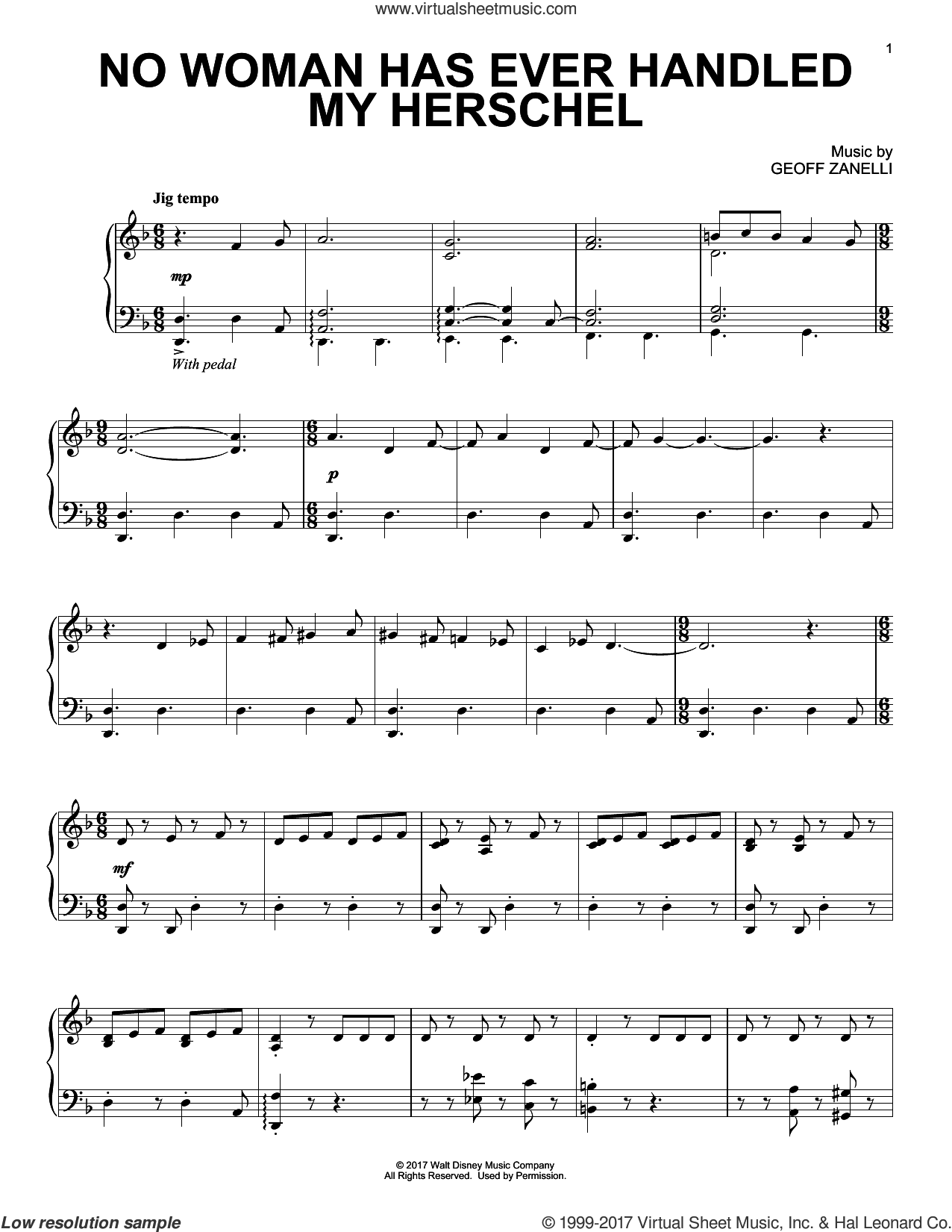 No Woman Has Ever Handled My Herschel sheet music for piano solo by Geoff Zanelli, intermediate
