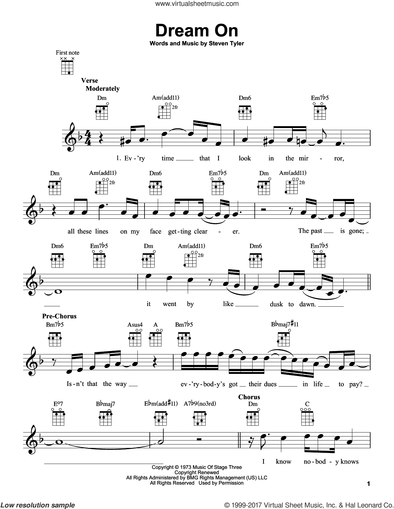 Dream On sheet music for ukulele by Steven Tyler and Aerosmith. Score Image Preview.