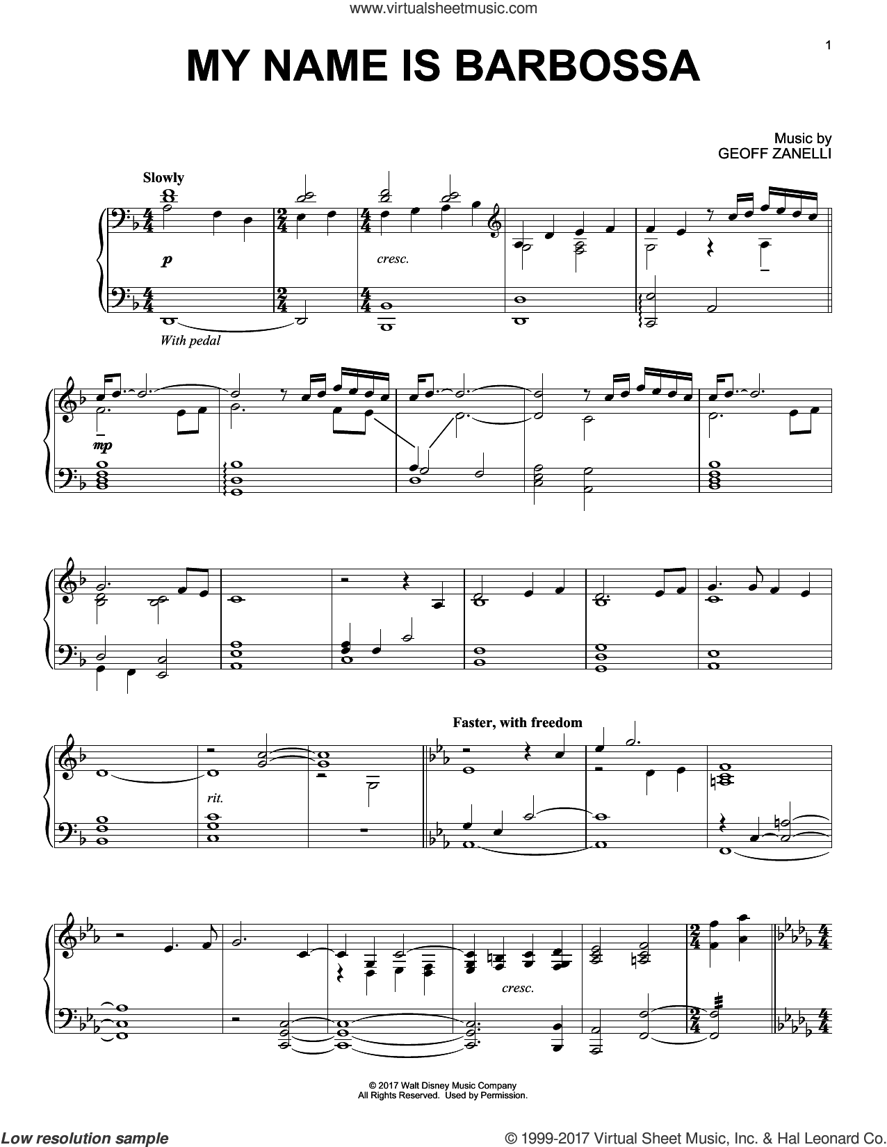 My Name Is Barbossa sheet music for piano solo by Geoff Zanelli, intermediate skill level