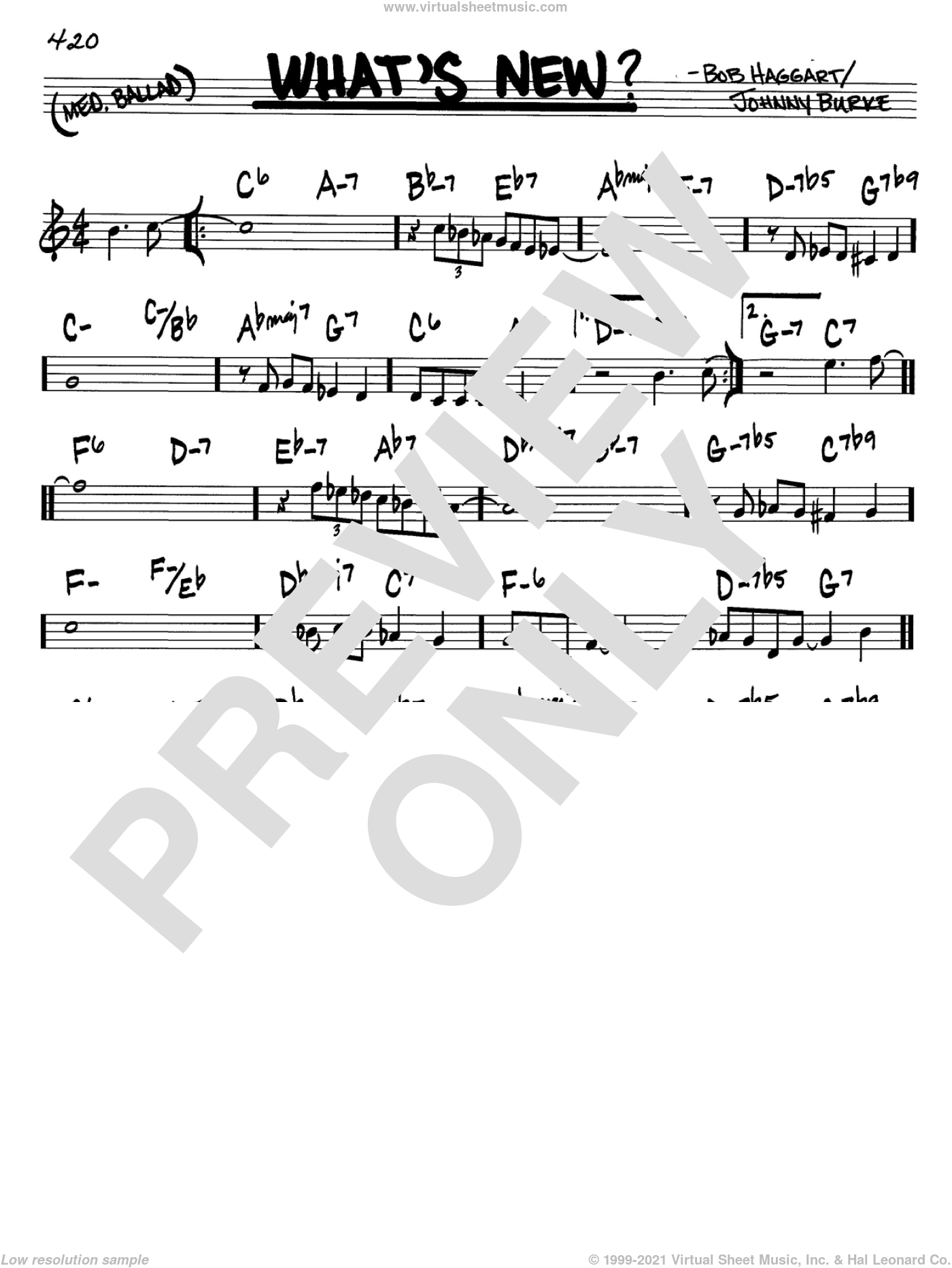 What's New? sheet music for voice and other instruments (C) by Bob Haggart and John Burke. Score Image Preview.