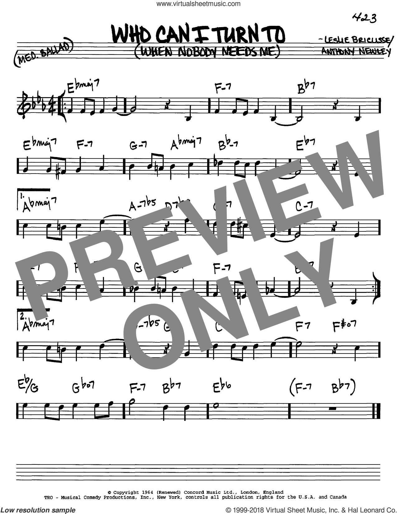 Who Can I Turn To (When Nobody Needs Me) sheet music for voice and other instruments (in C) by Tony Bennett, Anthony Newley and Leslie Bricusse, intermediate skill level