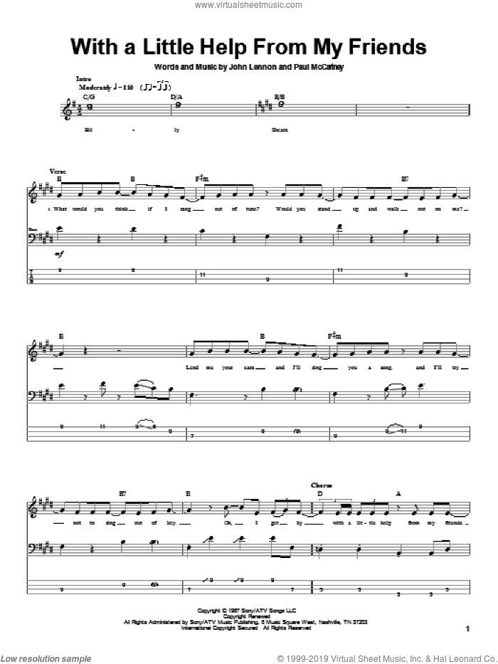 With A Little Help From My Friends sheet music for bass (tablature) (bass guitar) by The Beatles, Joe Cocker, John Lennon and Paul McCartney, intermediate skill level