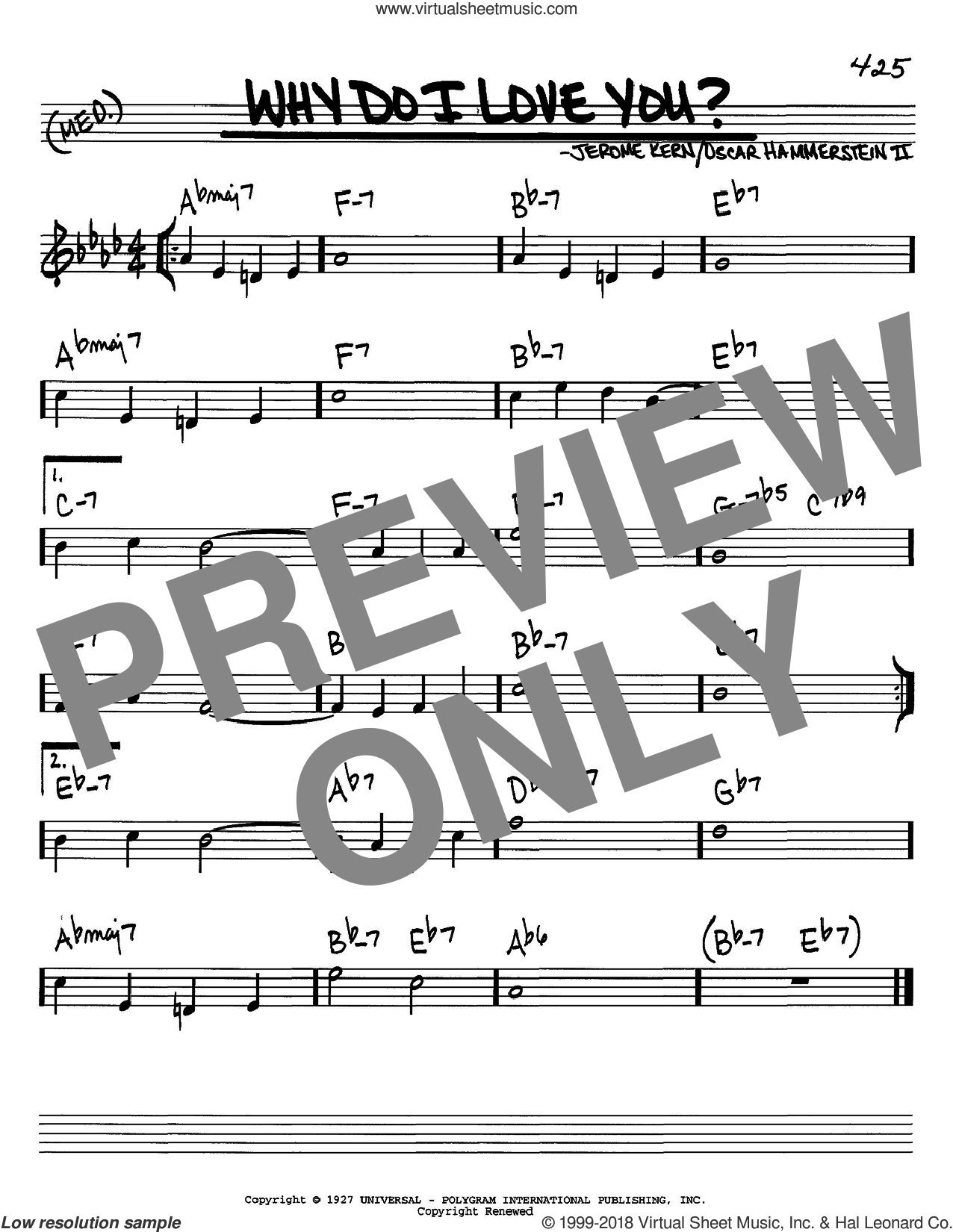 Why Do I Love You? sheet music for voice and other instruments (in C) by Jerome Kern and Oscar II Hammerstein, intermediate