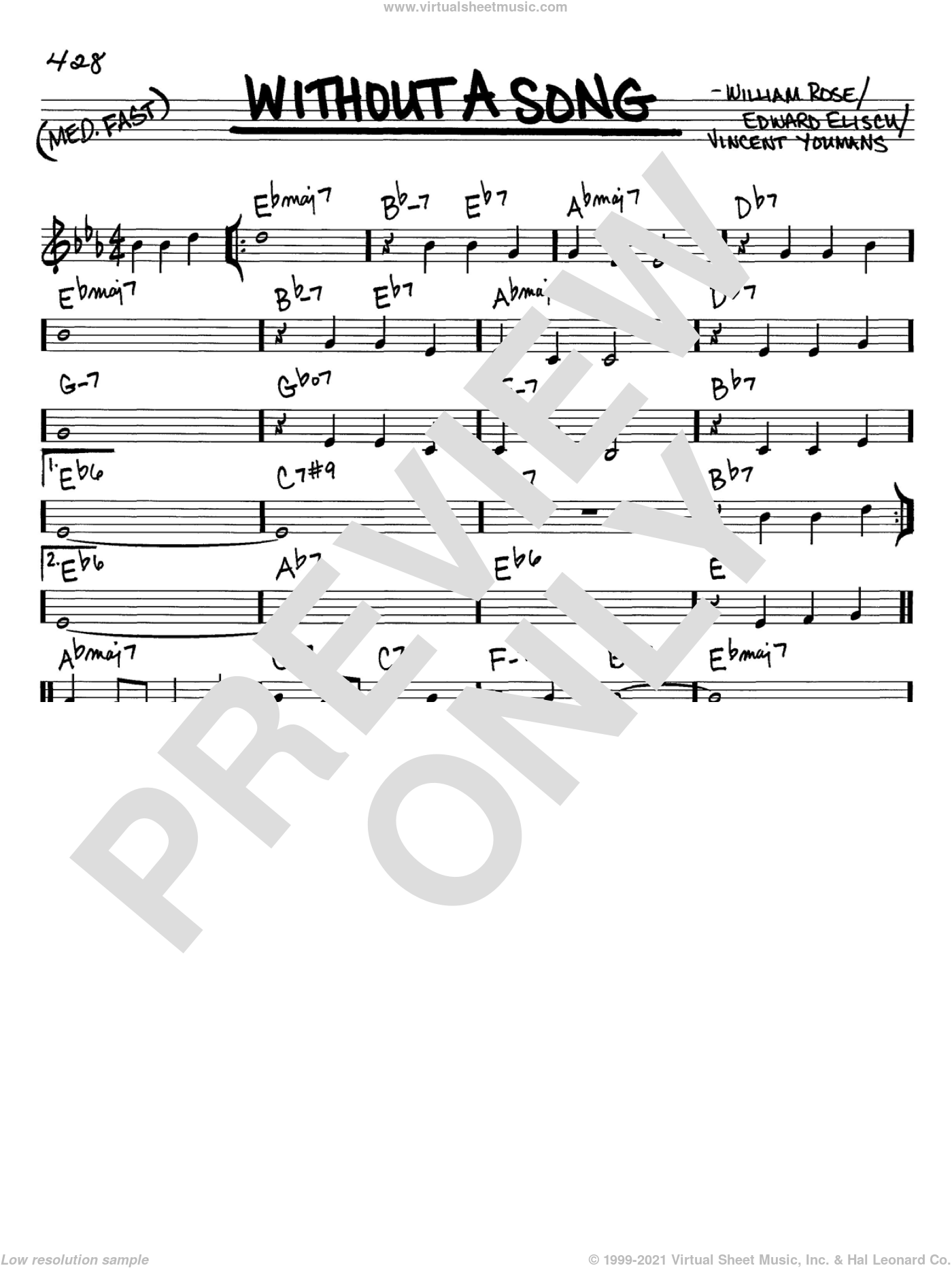 Without A Song sheet music for voice and other instruments (C) by Willie Nelson, Edward Eliscu, Vincent Youmans and William Rose