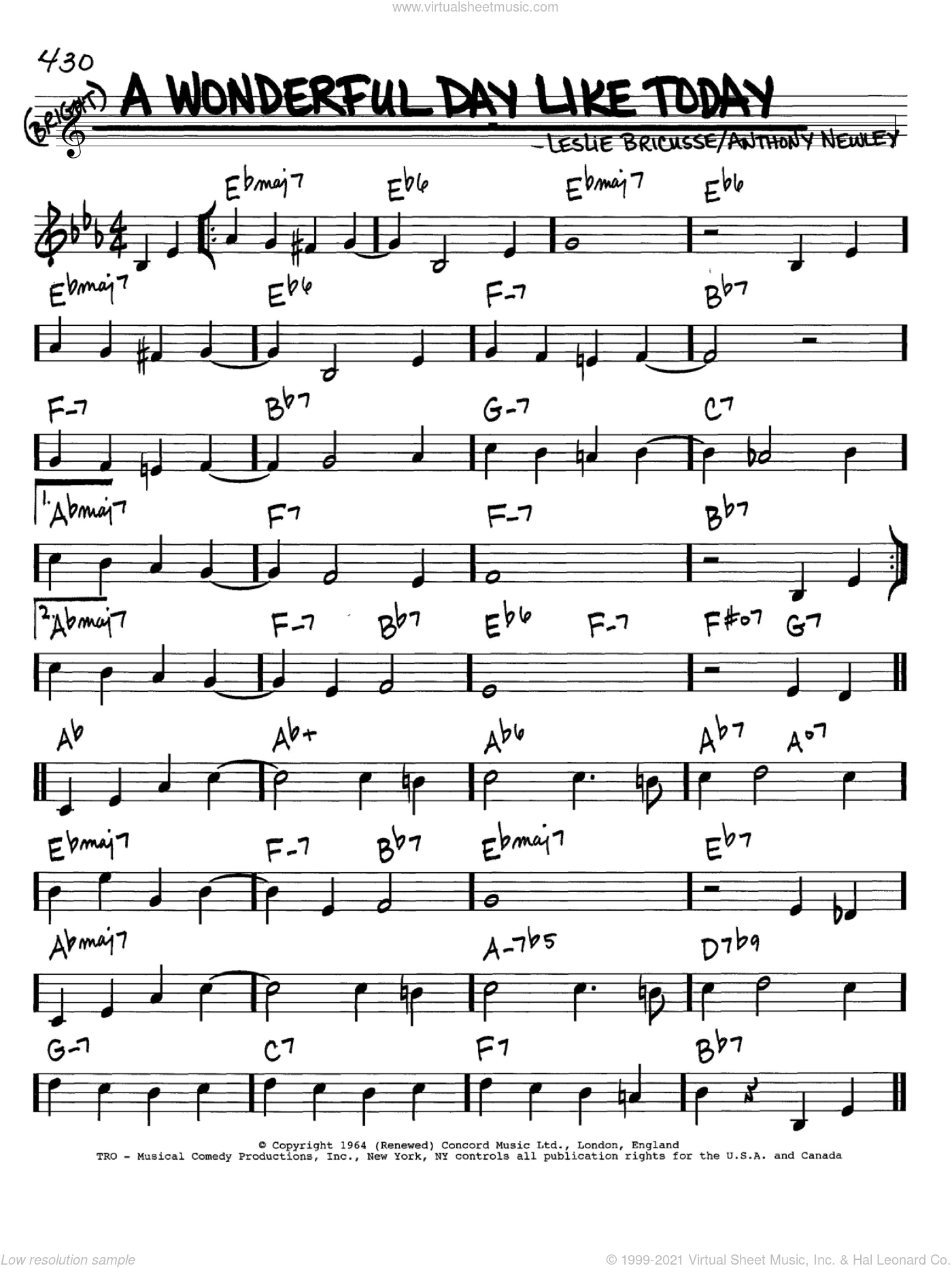 A Wonderful Day Like Today Sheet Music For Voice And Other Instruments In C