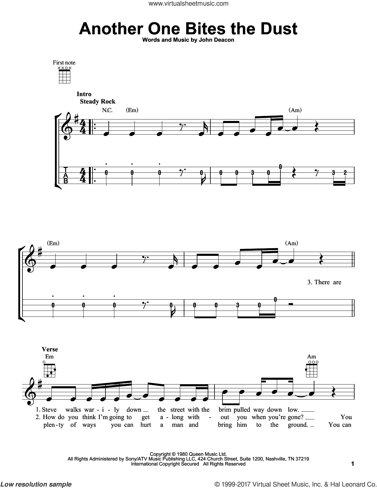 Another One Bites The Dust sheet music for ukulele by Queen and John Deacon, intermediate skill level