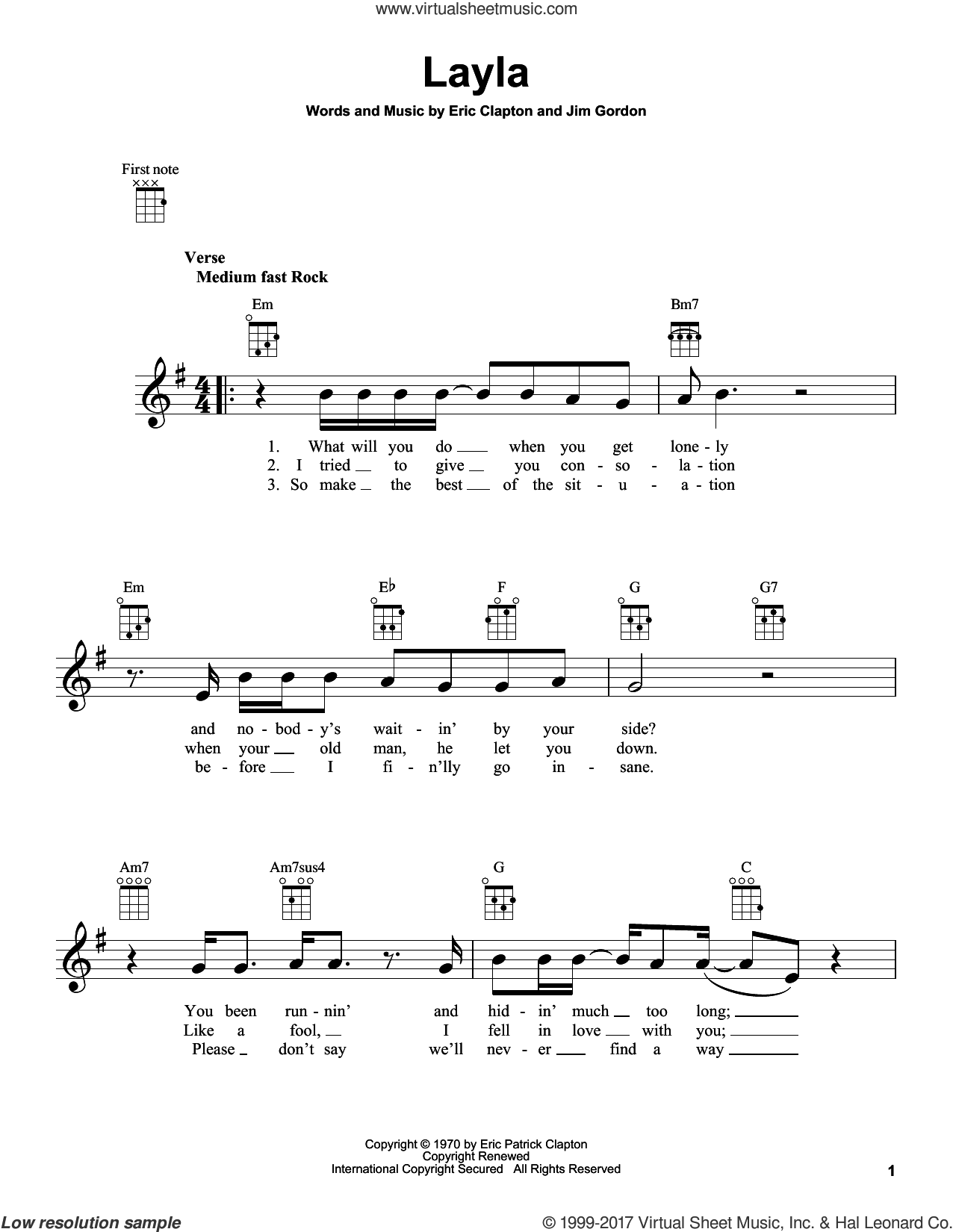 Layla sheet music for ukulele by Eric Clapton, Derek And The Dominos and Jim Gordon, intermediate skill level