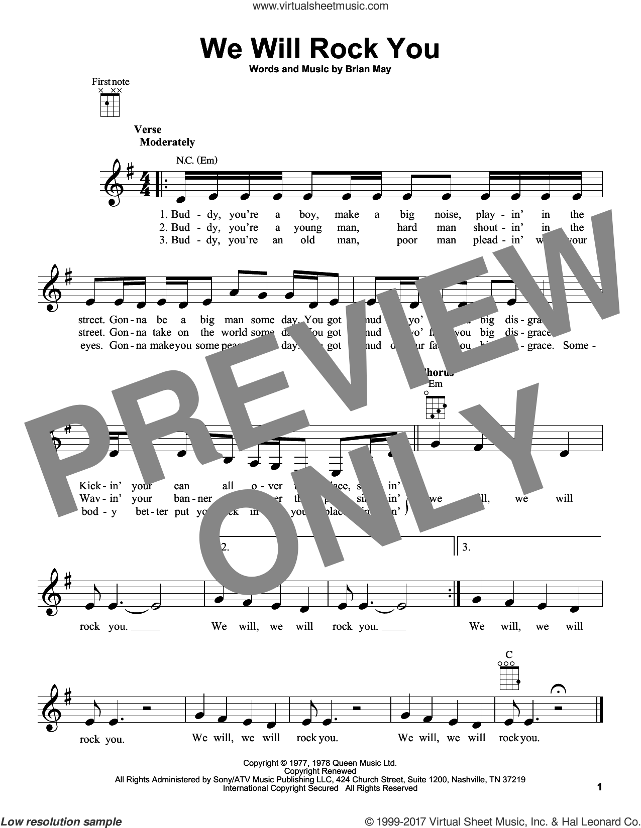 We Will Rock You sheet music for ukulele by Queen and Brian May, intermediate