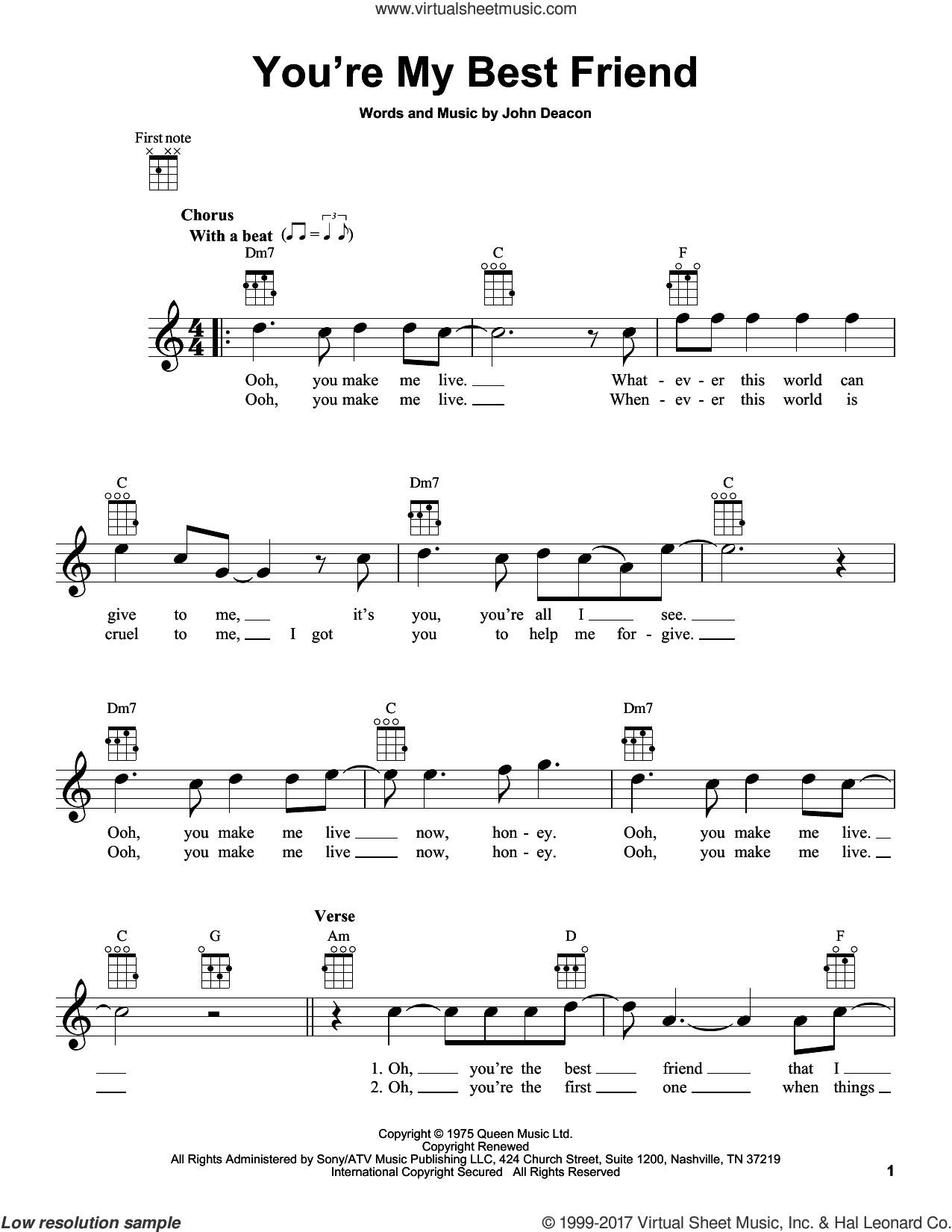 You're My Best Friend sheet music for ukulele by Queen and John Deacon, intermediate skill level