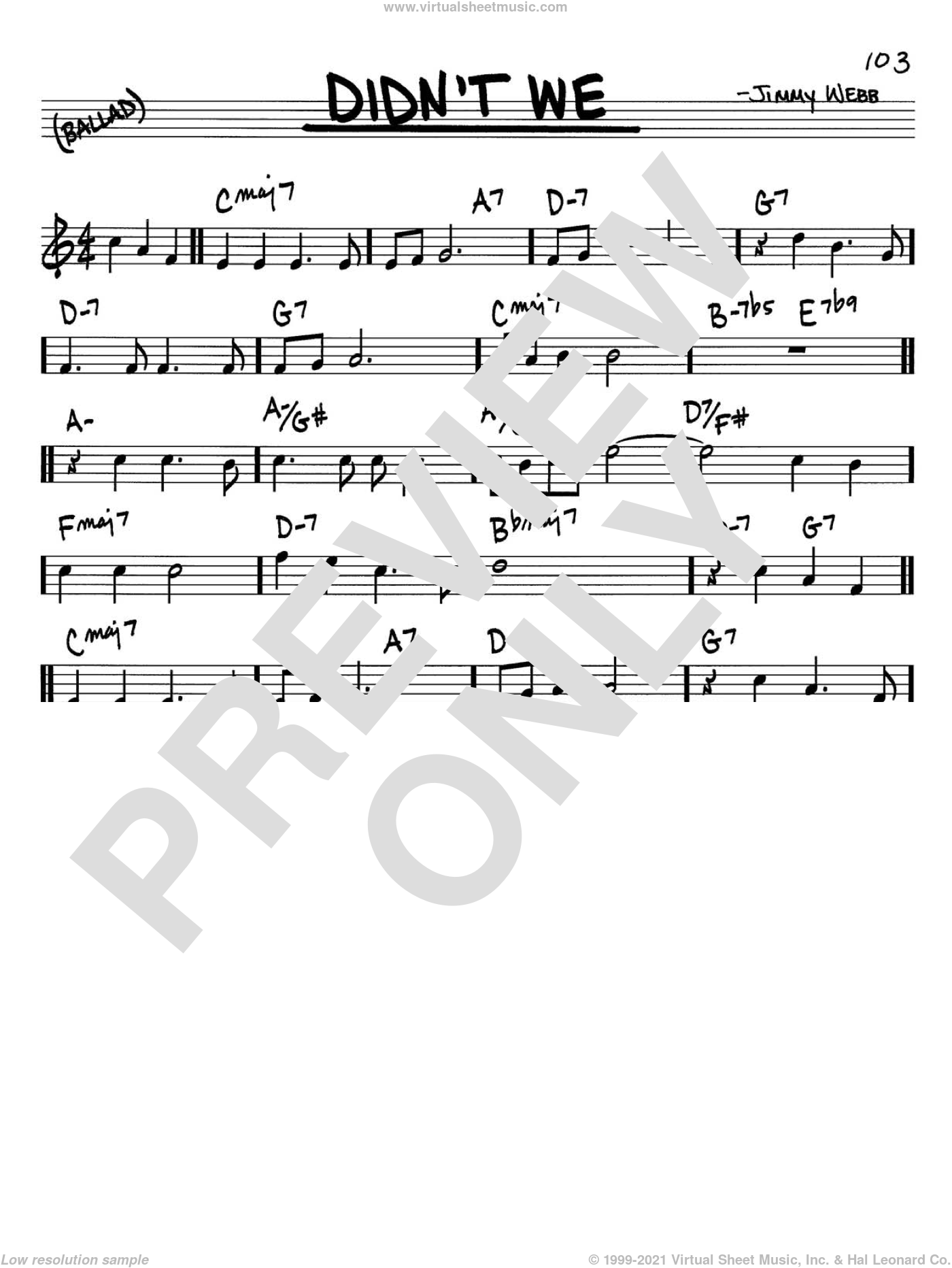 Didn't We sheet music for voice and other instruments (C) by Jimmy Webb and Glen Campbell. Score Image Preview.