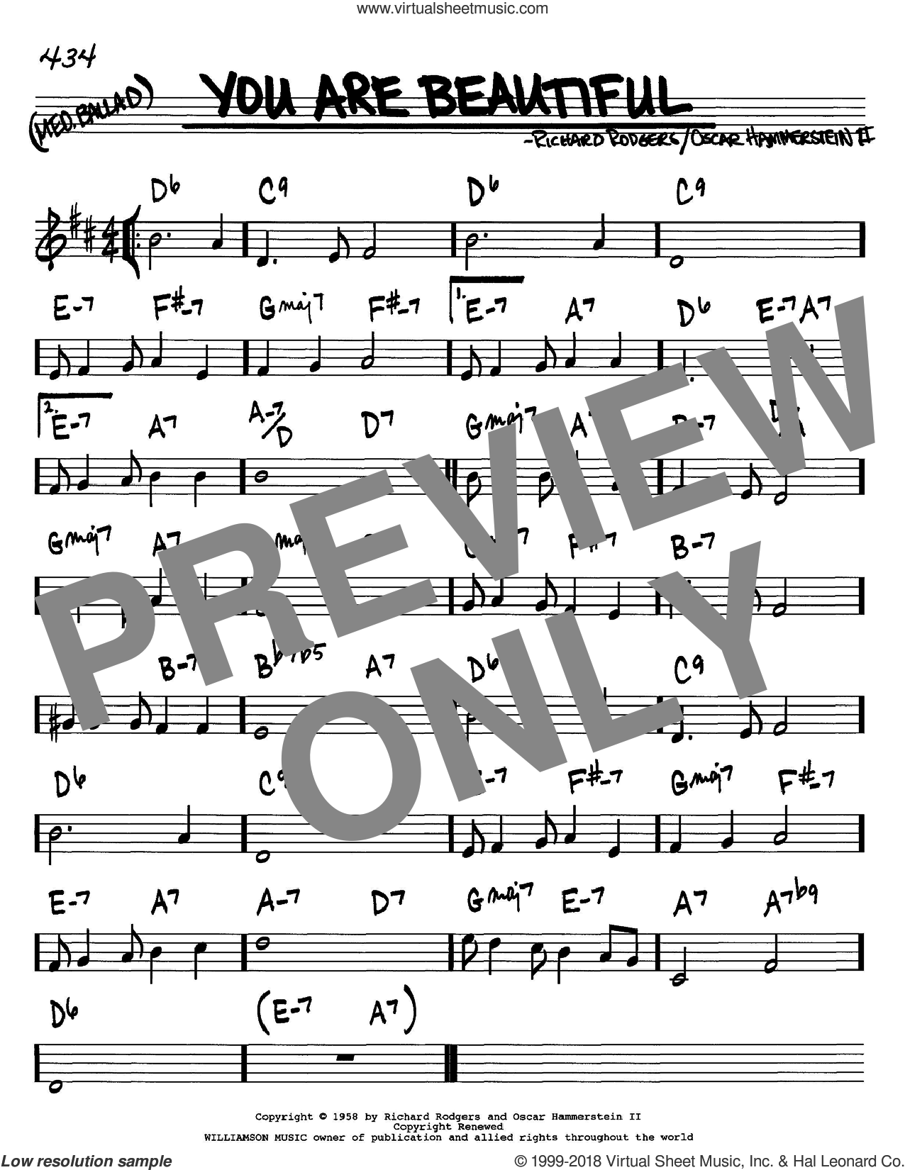 You Are Beautiful sheet music for voice and other instruments (in C) by Rodgers & Hammerstein, Oscar II Hammerstein and Richard Rodgers, intermediate