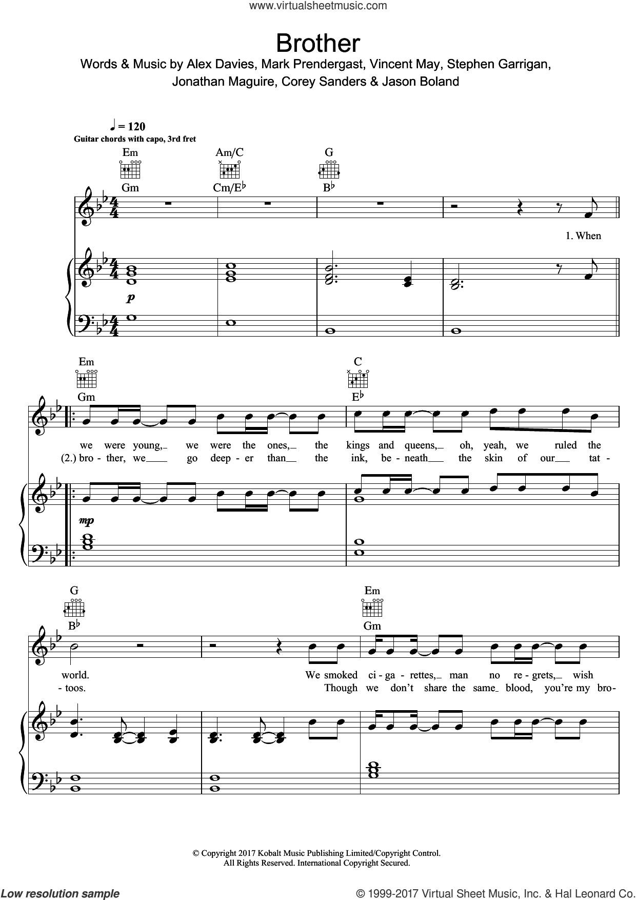 Brother sheet music for voice, piano or guitar by Kodaline, Alex Davies, Corey Sanders, Jason Boland, Jonathan Maguire, Mark Prendergast, Stephen Garrigan and Vincent May, intermediate skill level