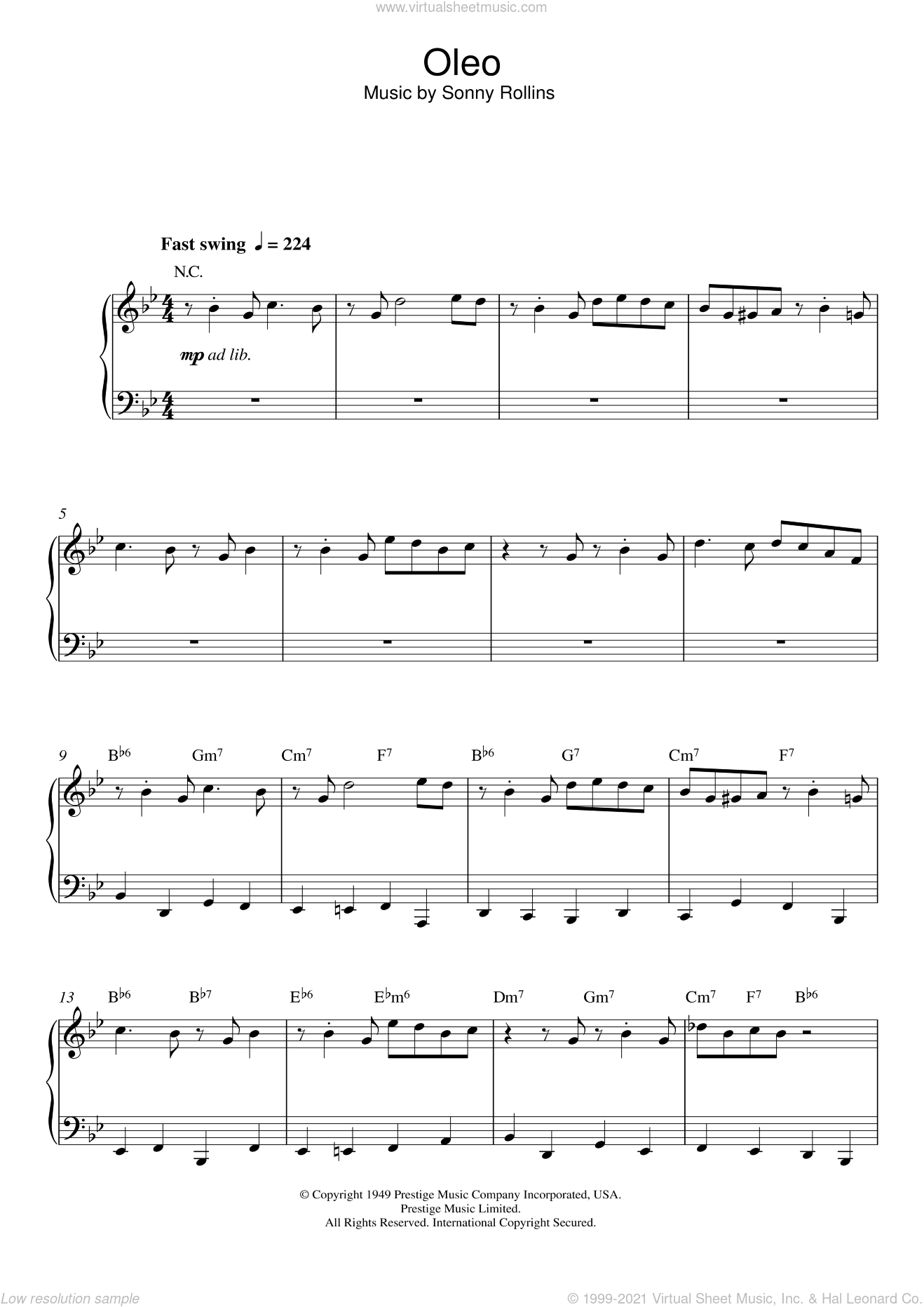 Oleo sheet music for piano solo by Sonny Rollins, intermediate skill level