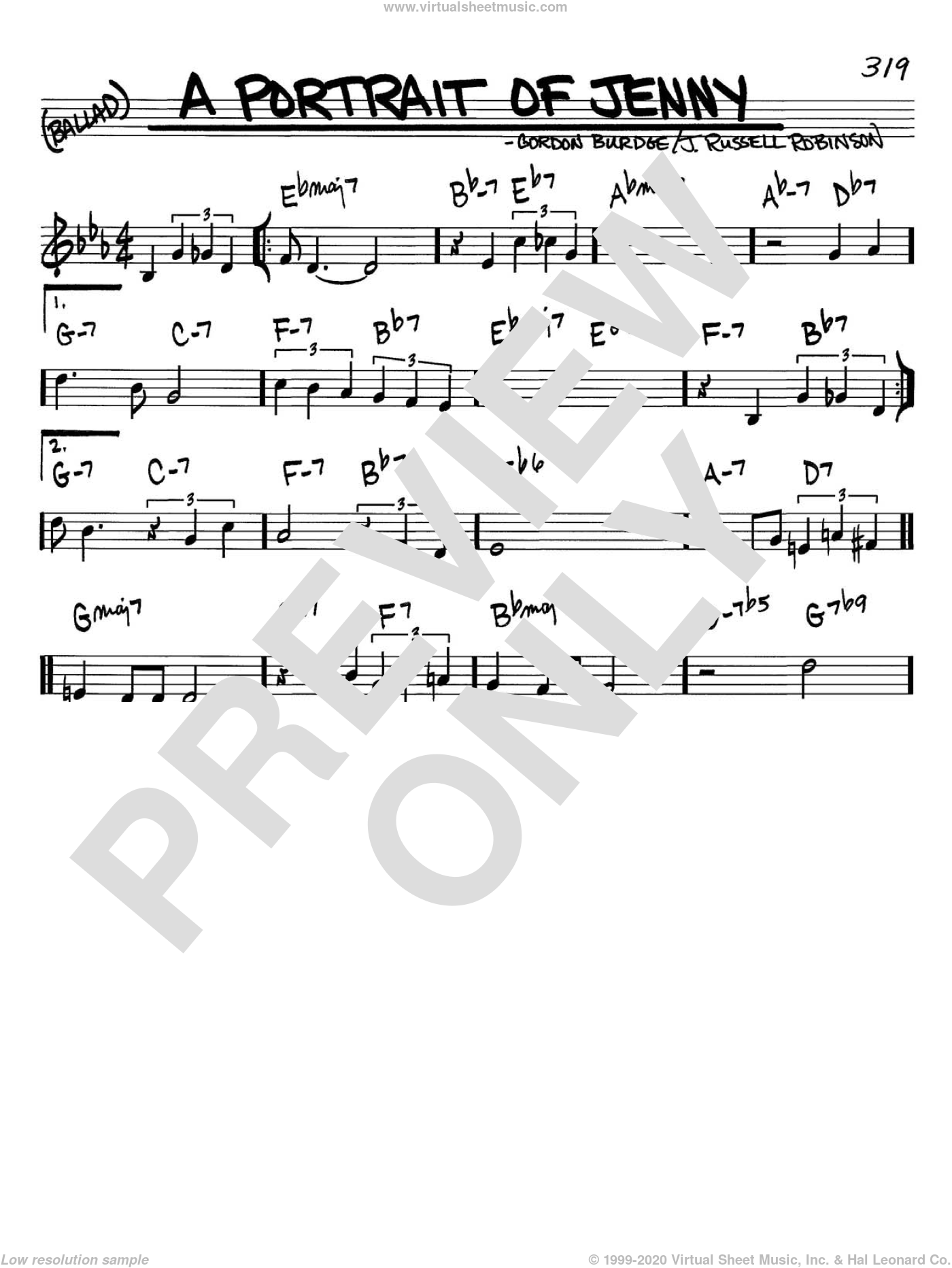 A Portrait of Jenny sheet music for voice and other instruments (in C) by Gordon Burdge and Russell Robinson, intermediate. Score Image Preview.
