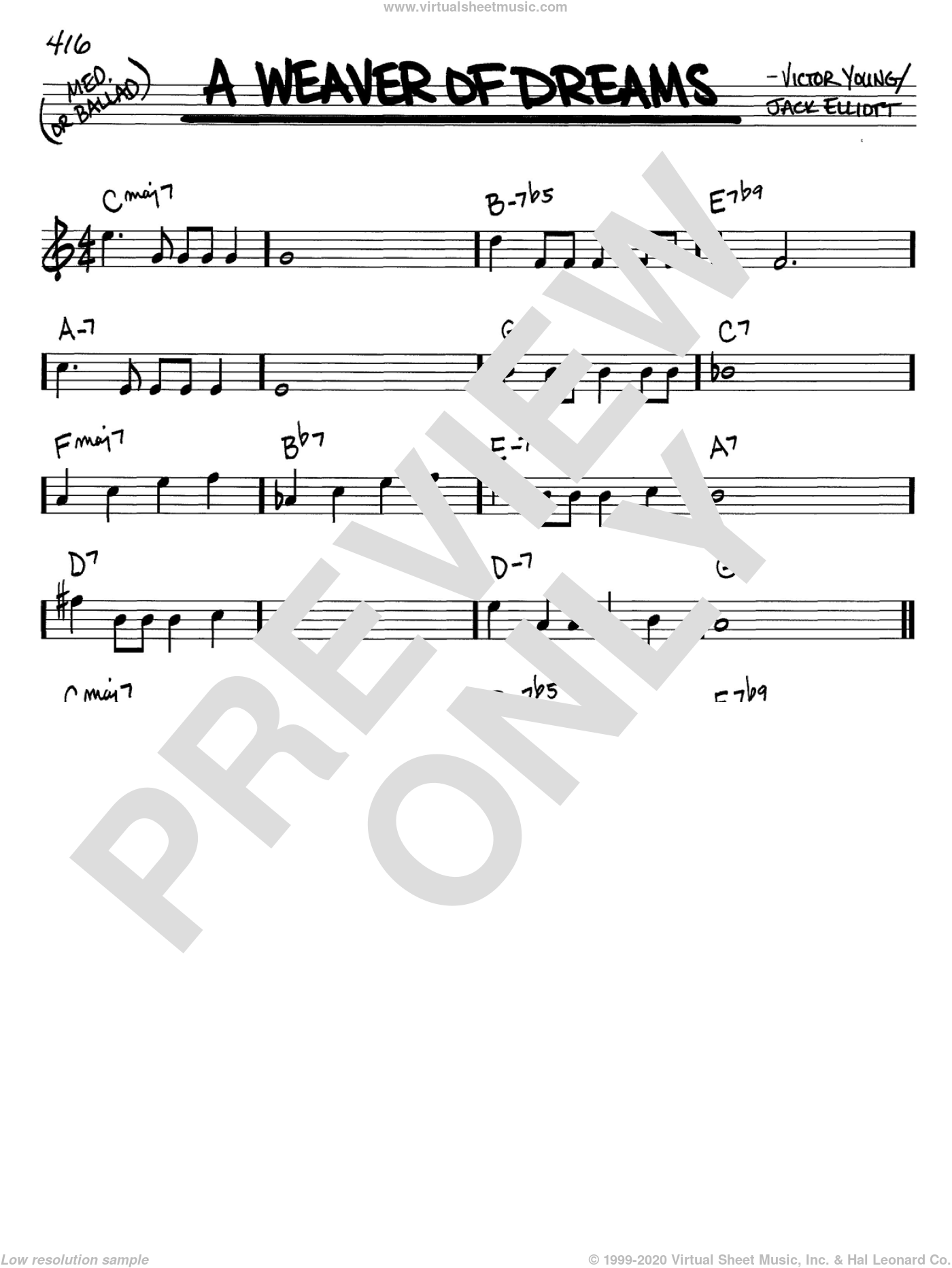 A Weaver Of Dreams sheet music for voice and other instruments (in C) by Victor Young and Jack Elliott, intermediate skill level